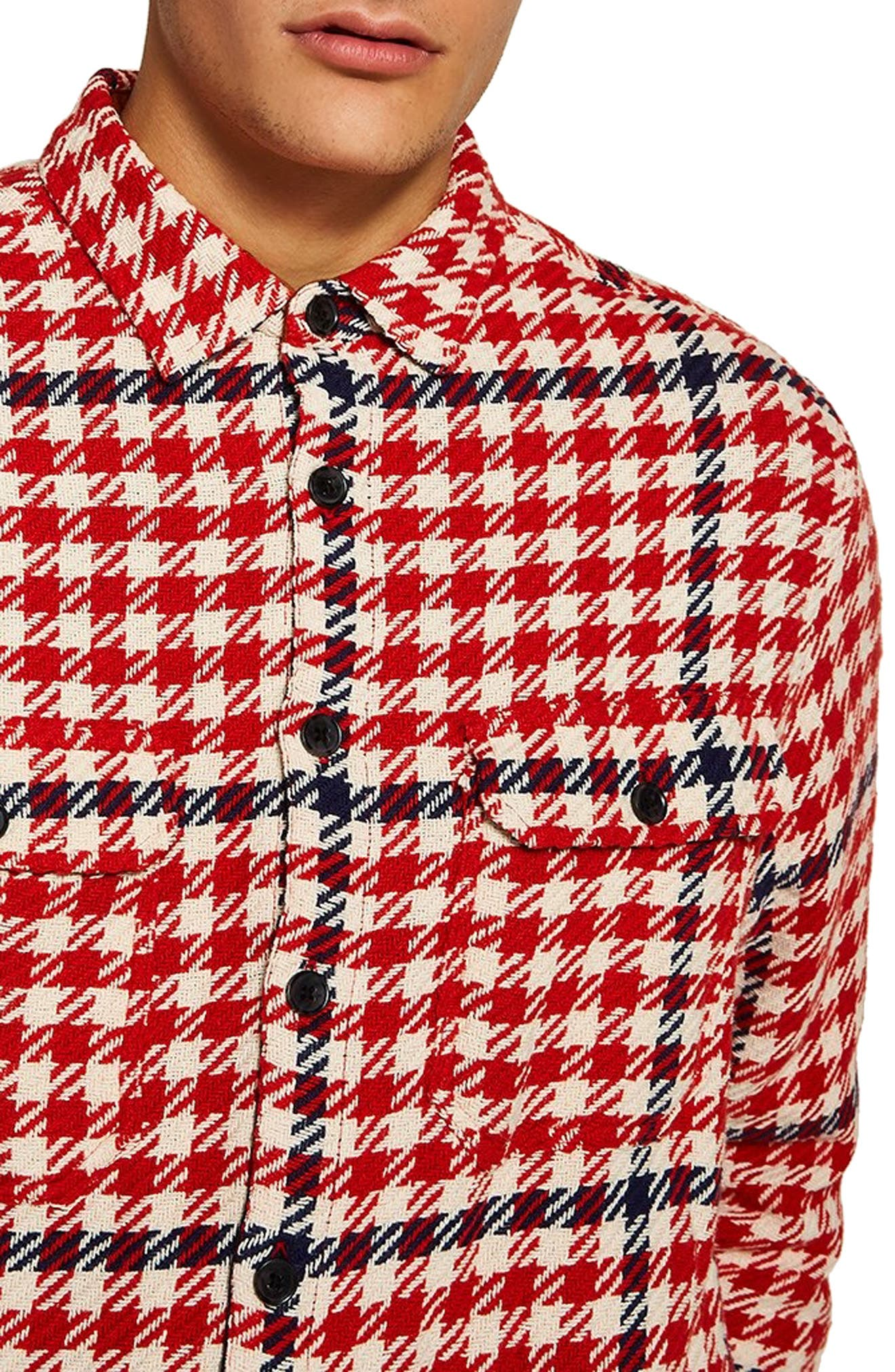 Classic Fit Houndstooth Overshirt,                             Alternate thumbnail 2, color,                             RED MULTI