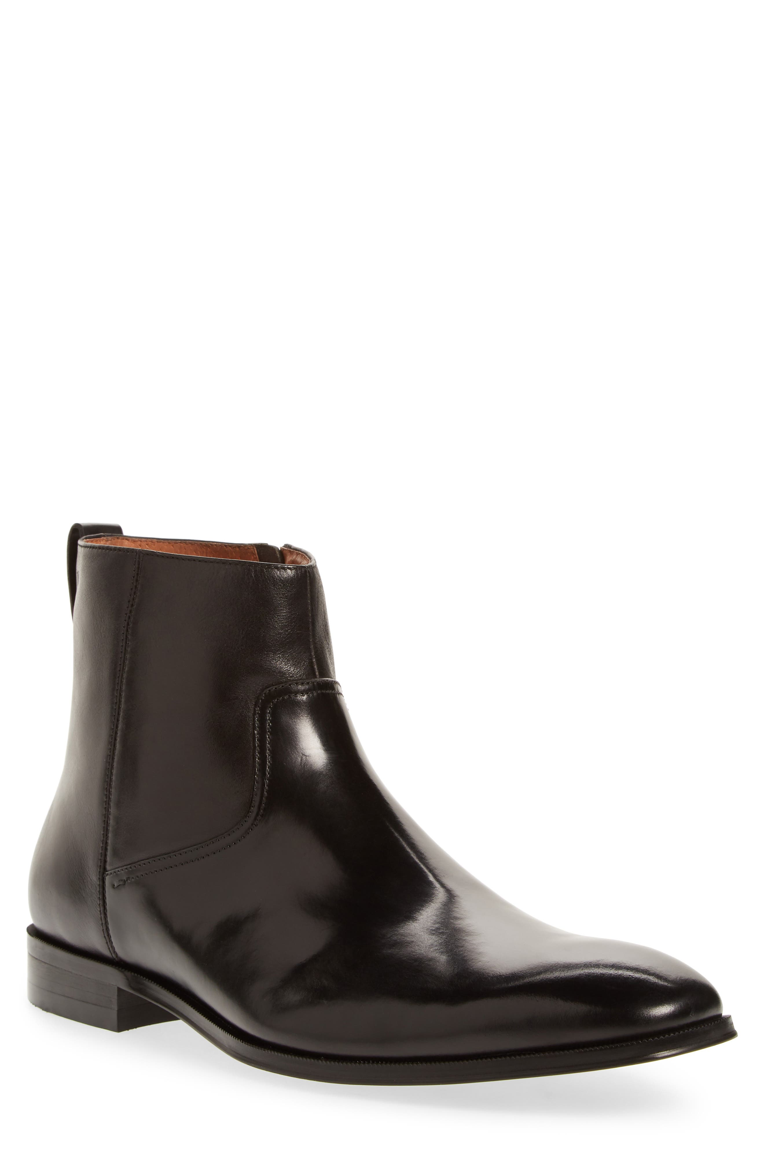 Belfast Mid Zip Boot,                             Main thumbnail 1, color,                             BLACK LEATHER