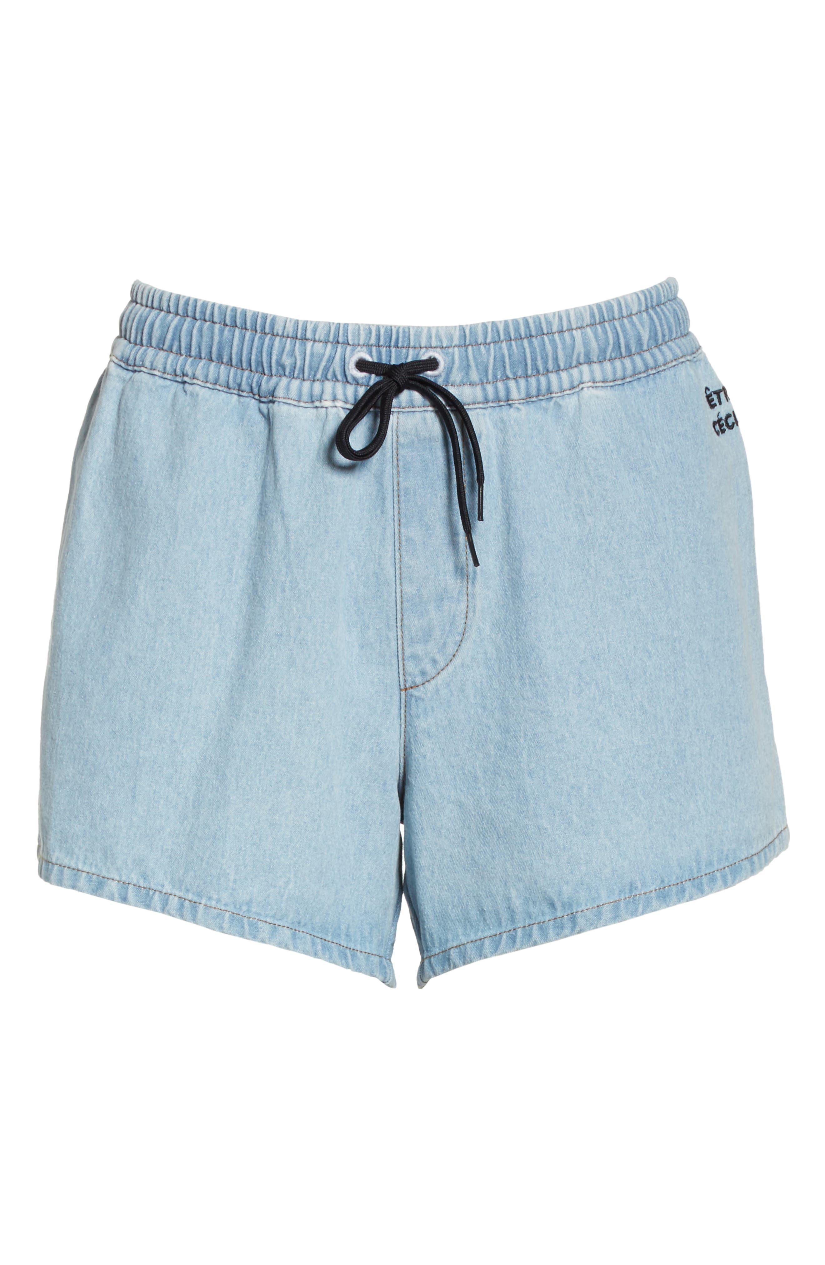 être cécile Rib Retro Shorts,                             Alternate thumbnail 6, color,                             LIGHT BLUE
