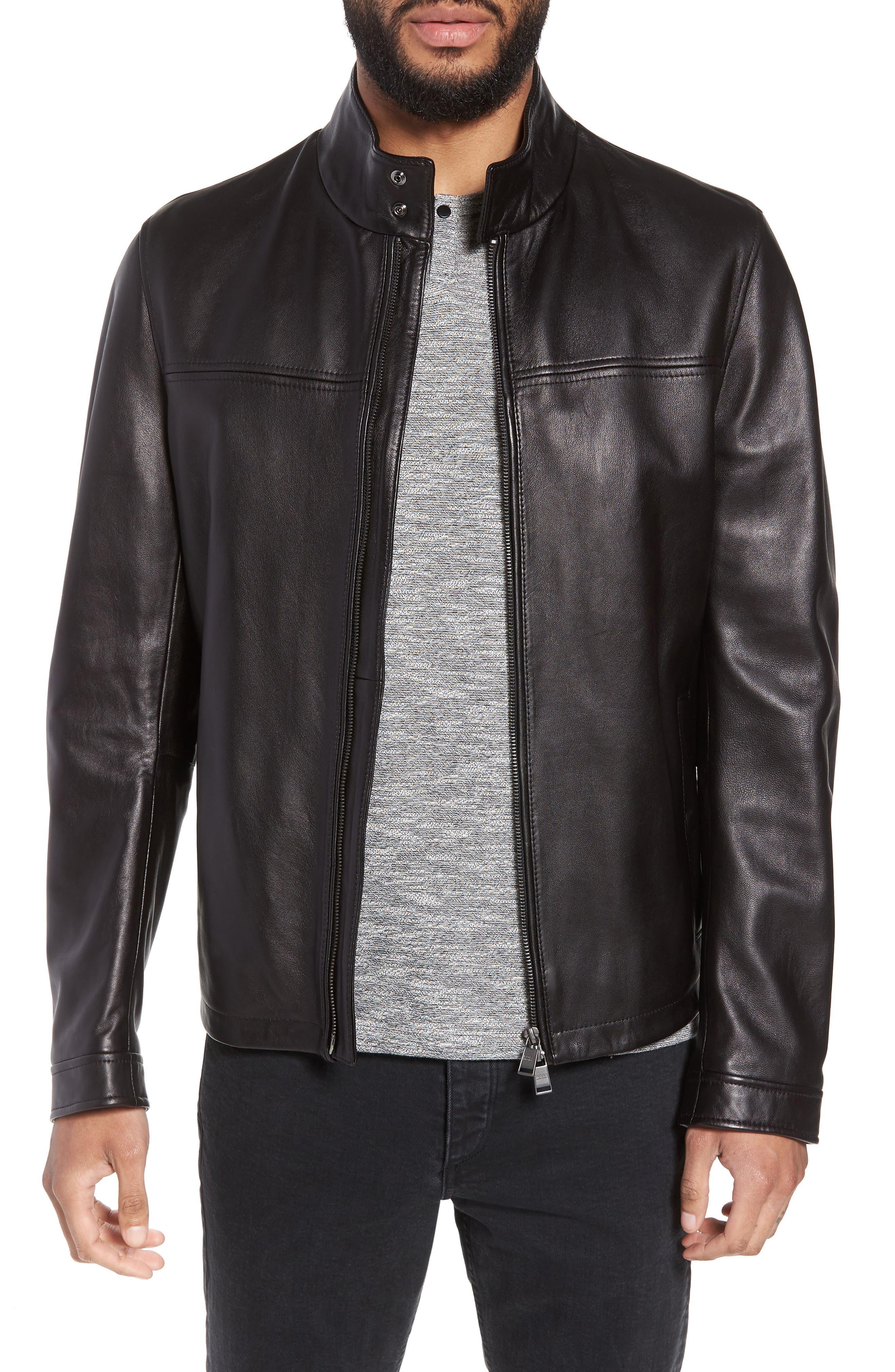 Nerous Leather jacket,                             Main thumbnail 1, color,