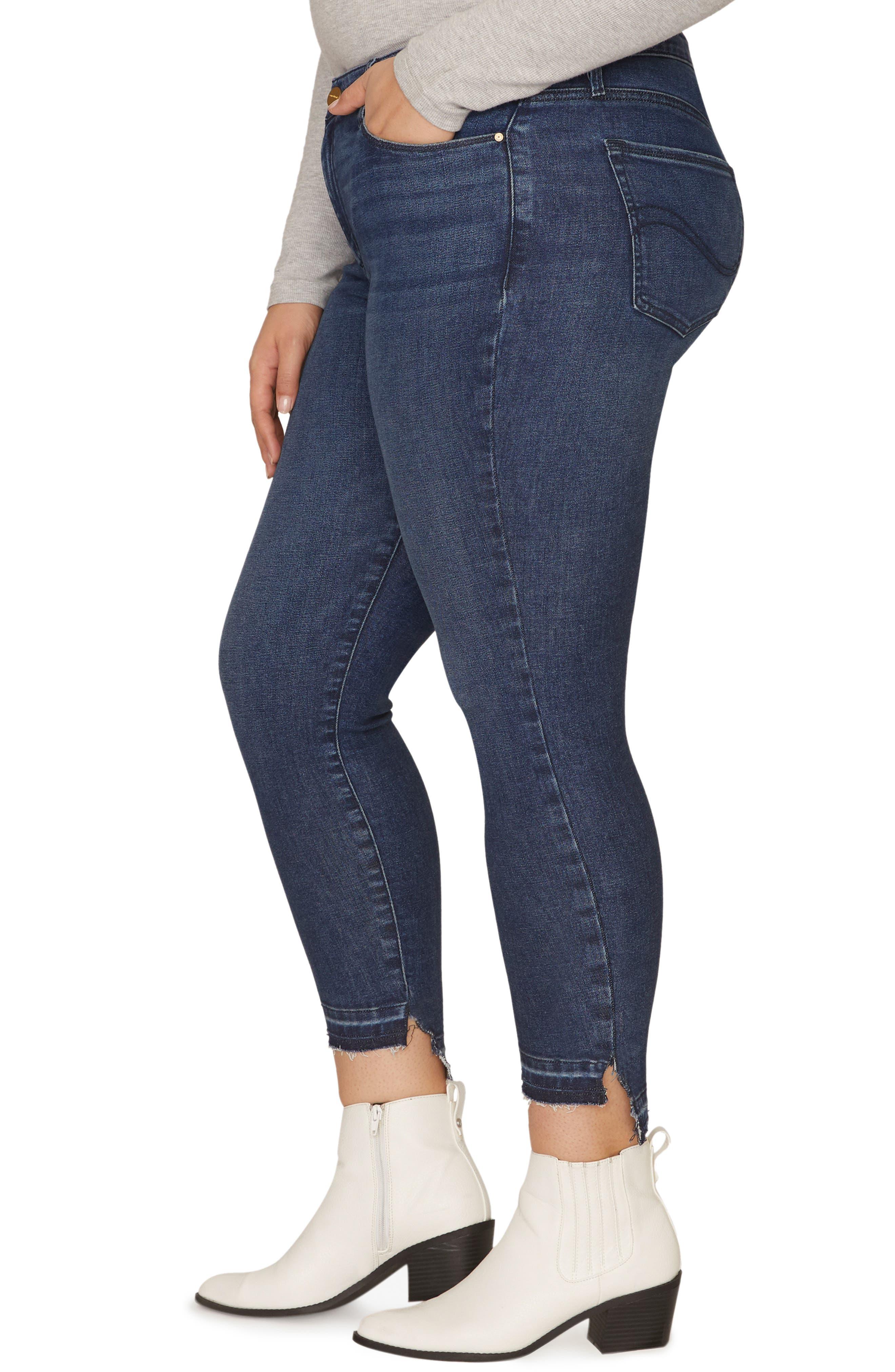 Social Standard Release Hem Ankle Skinny Jeans,                             Alternate thumbnail 4, color,                             ELYSIAN BLUE