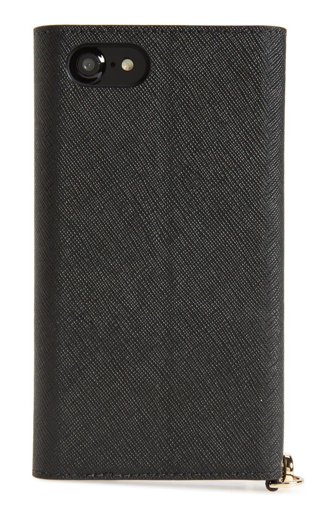 iPhone 7/8 & 7/8 Plus leather wristlet,                             Alternate thumbnail 10, color,                             BLACK