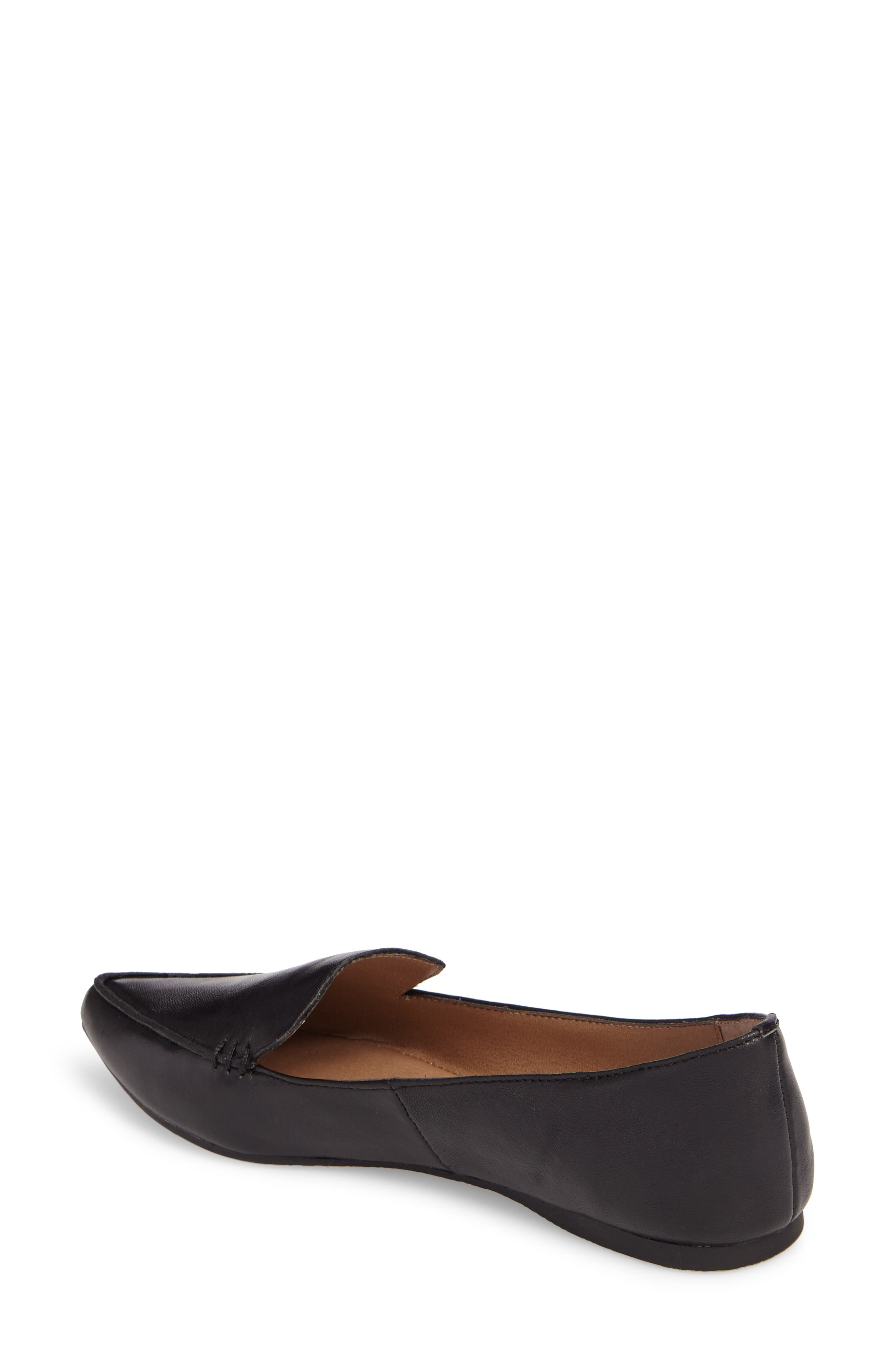 Feather Loafer Flat,                             Alternate thumbnail 2, color,                             BLACK LEATHER