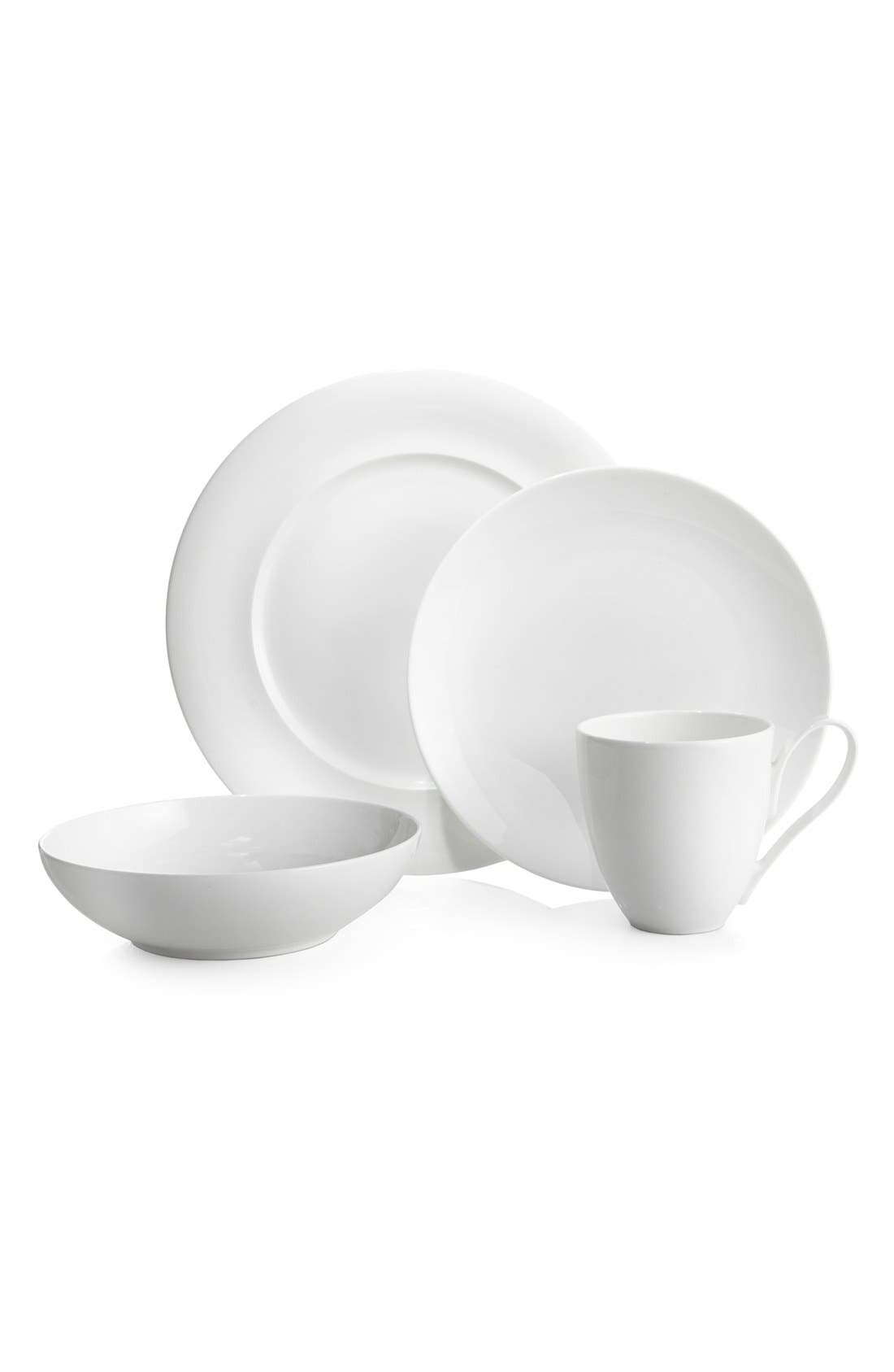 'Skye Collection' 4-Piece Bone China Place Setting,                             Main thumbnail 1, color,                             WHITE