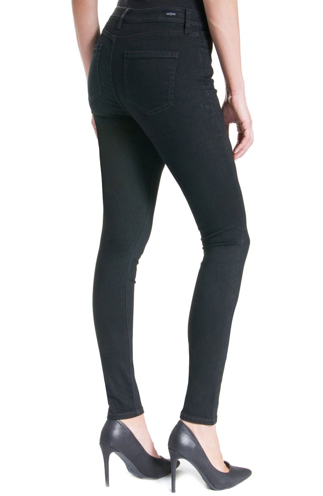 Jeans Company Abby Mid Rise Soft Stretch Skinny Jeans,                             Alternate thumbnail 5, color,                             BLACK RINSE
