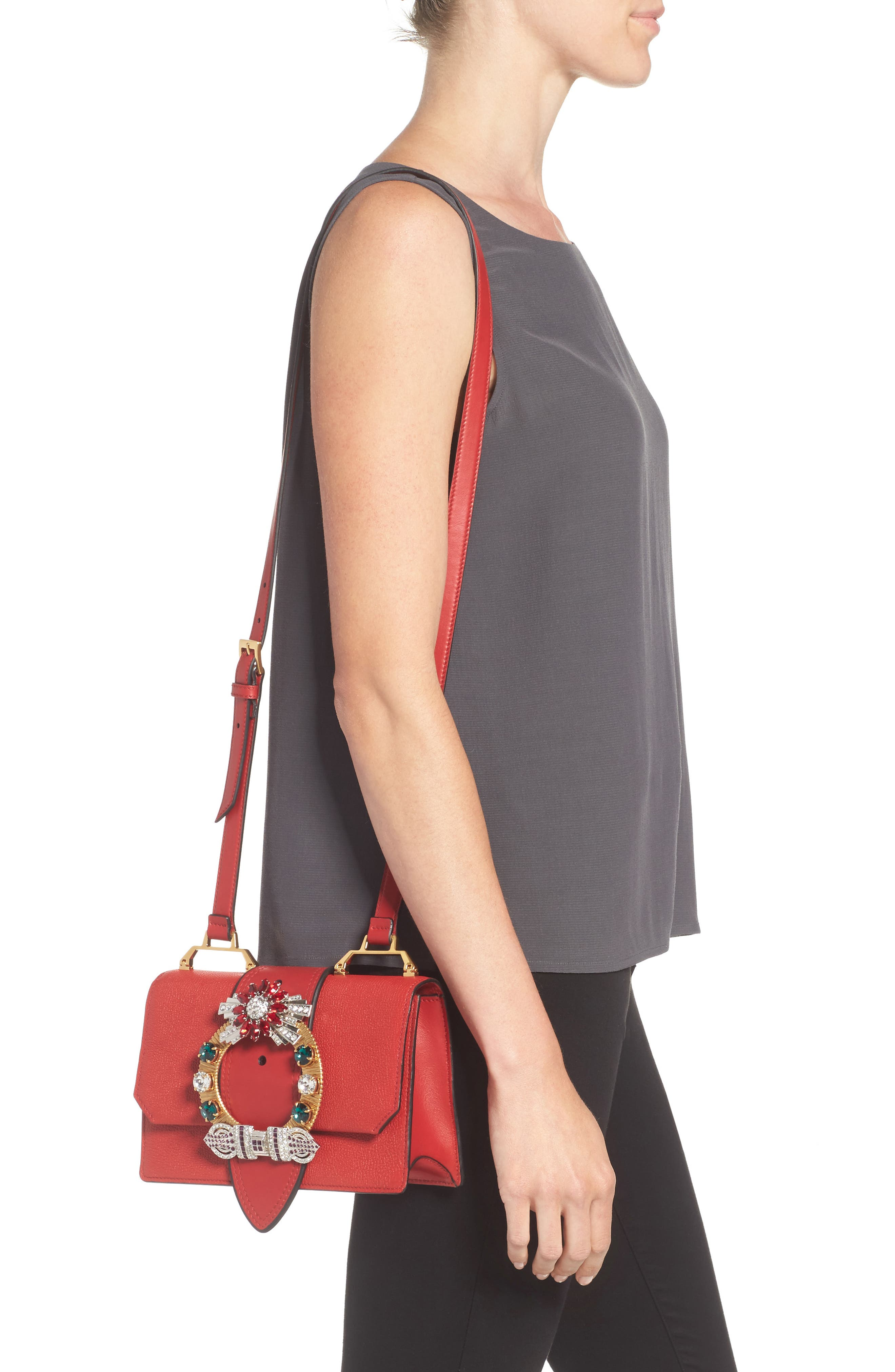 Madras Crystal Embellished Leather Shoulder Bag,                             Alternate thumbnail 2, color,                             FUOCO