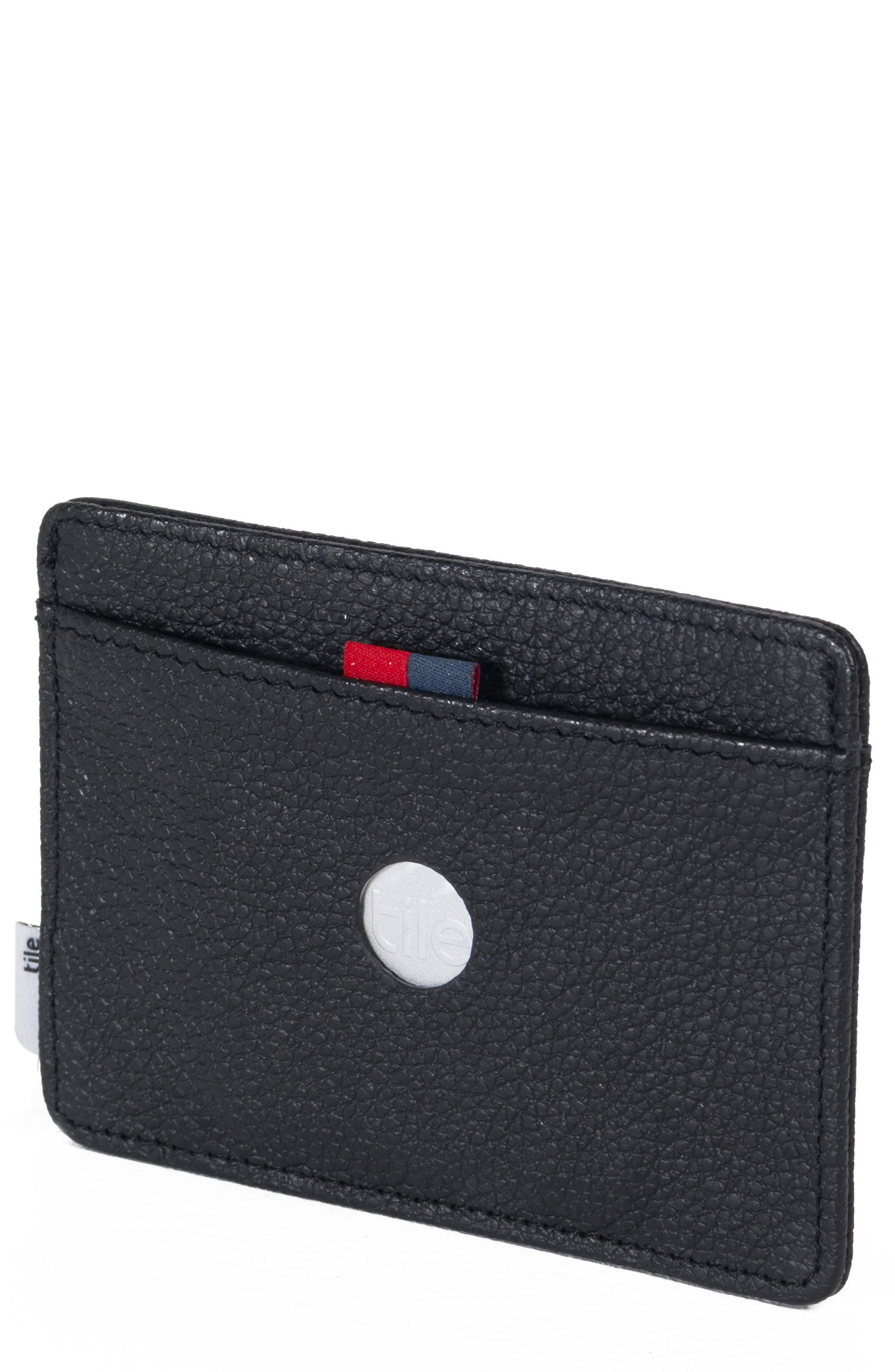 Tile Slim Charlie Leather Card Case,                             Main thumbnail 1, color,                             BLACK PEBBLED LEATHER
