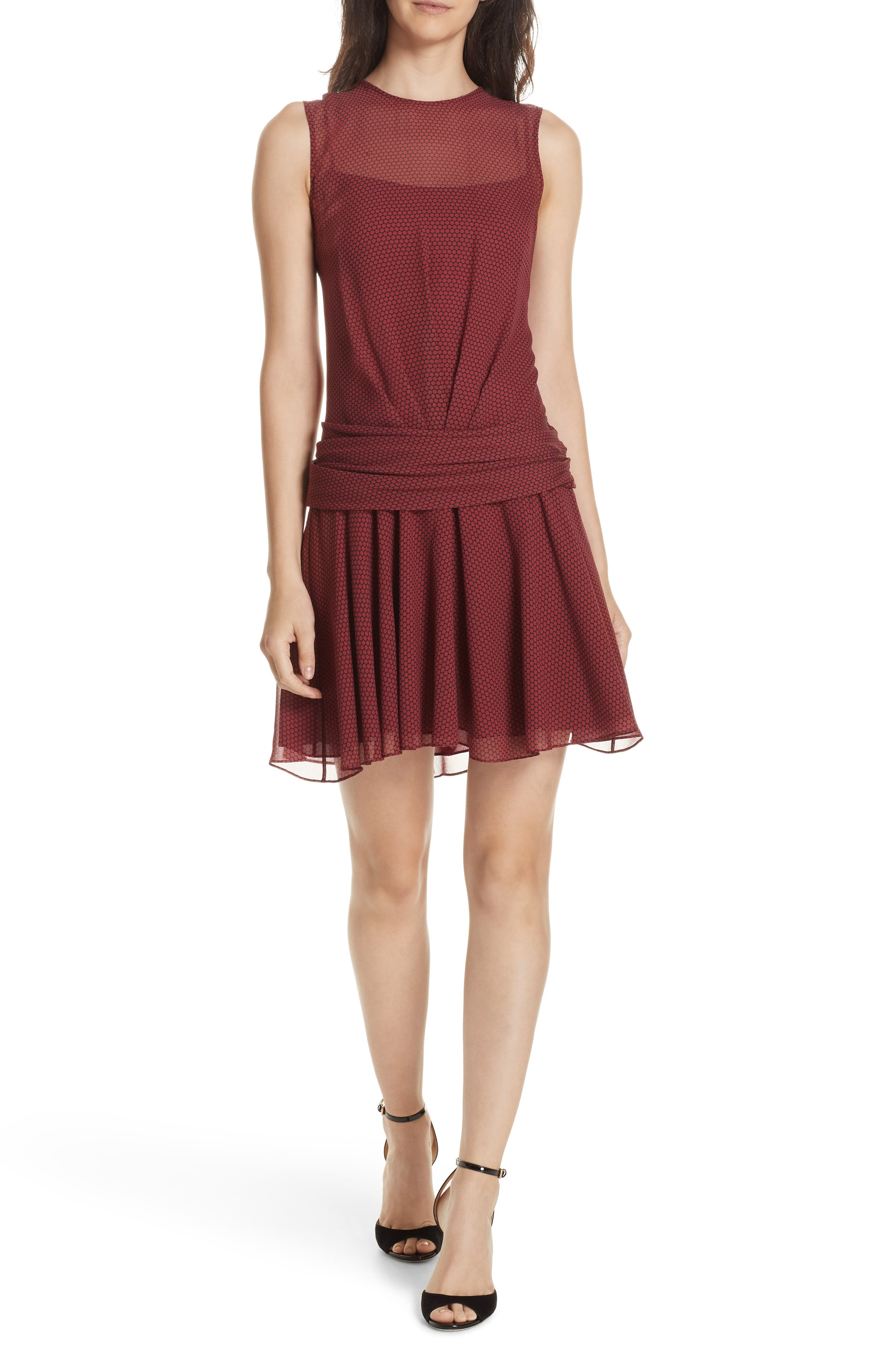Dot Print Flounce Silk Dress,                         Main,                         color, 930