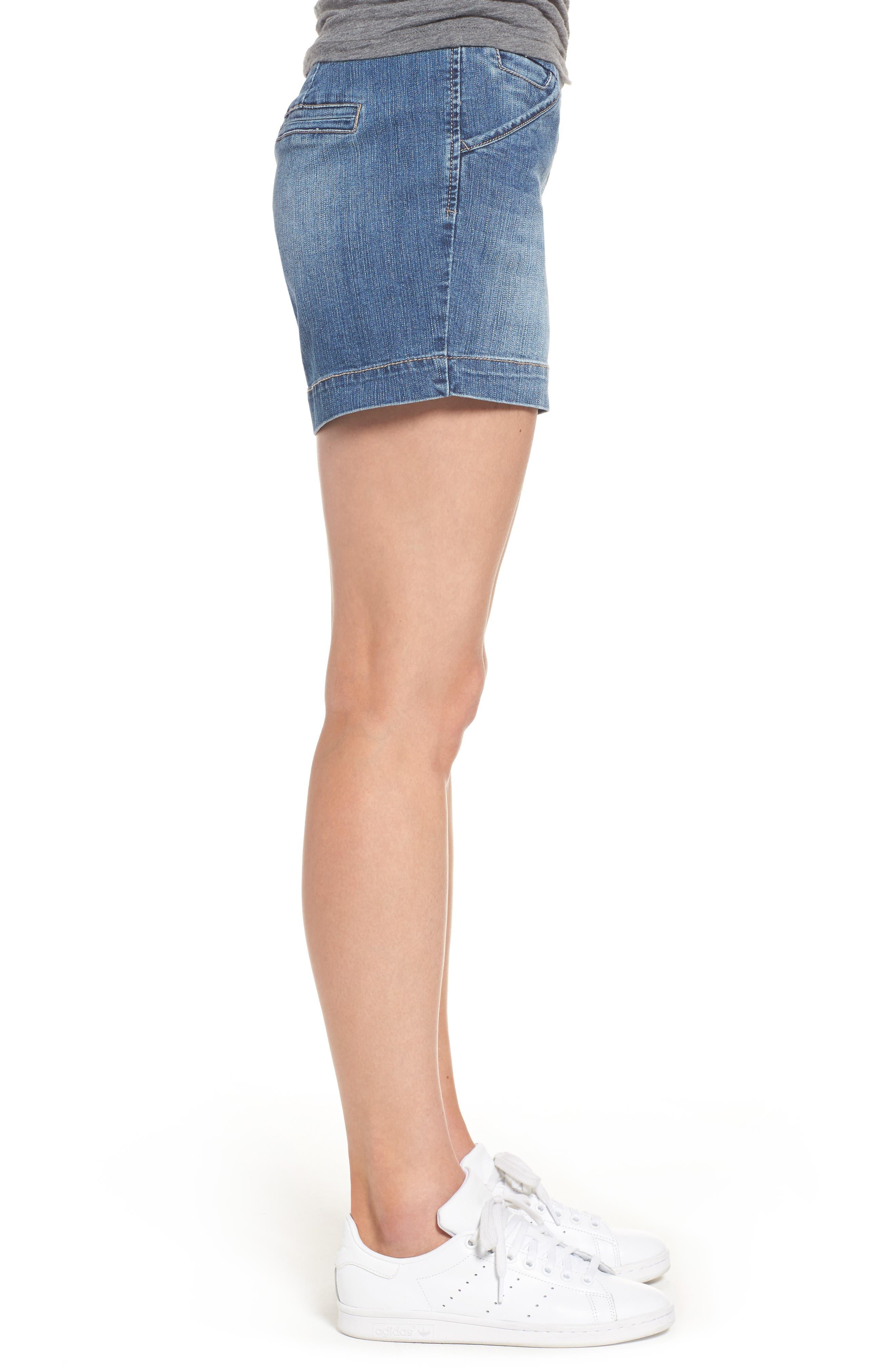 Ainsley Pull-On Denim Shorts,                             Alternate thumbnail 3, color,                             402