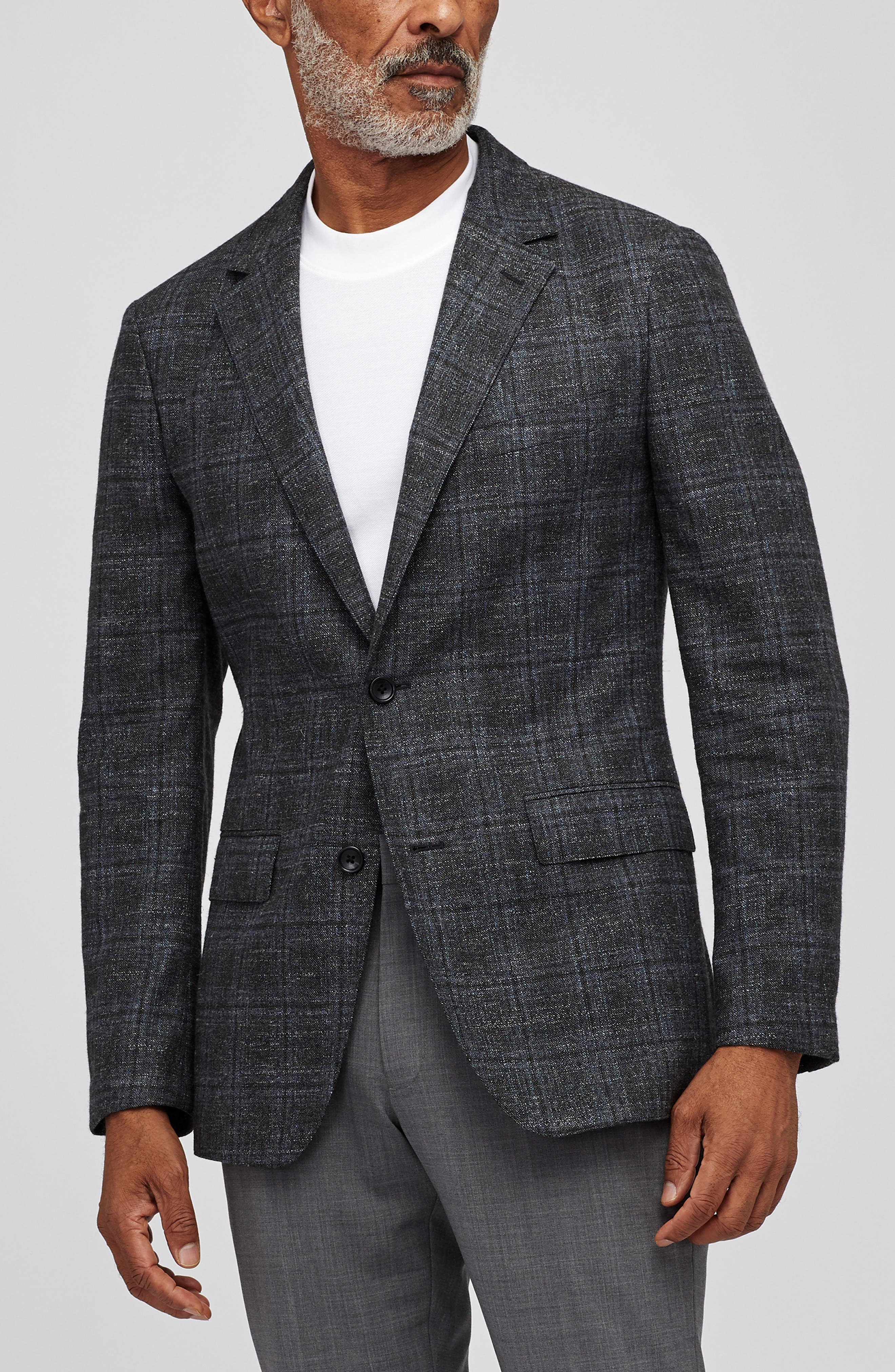 Slim Fit Unconstructed Plaid Blazer,                             Alternate thumbnail 3, color,                             OLIVE AND GREY