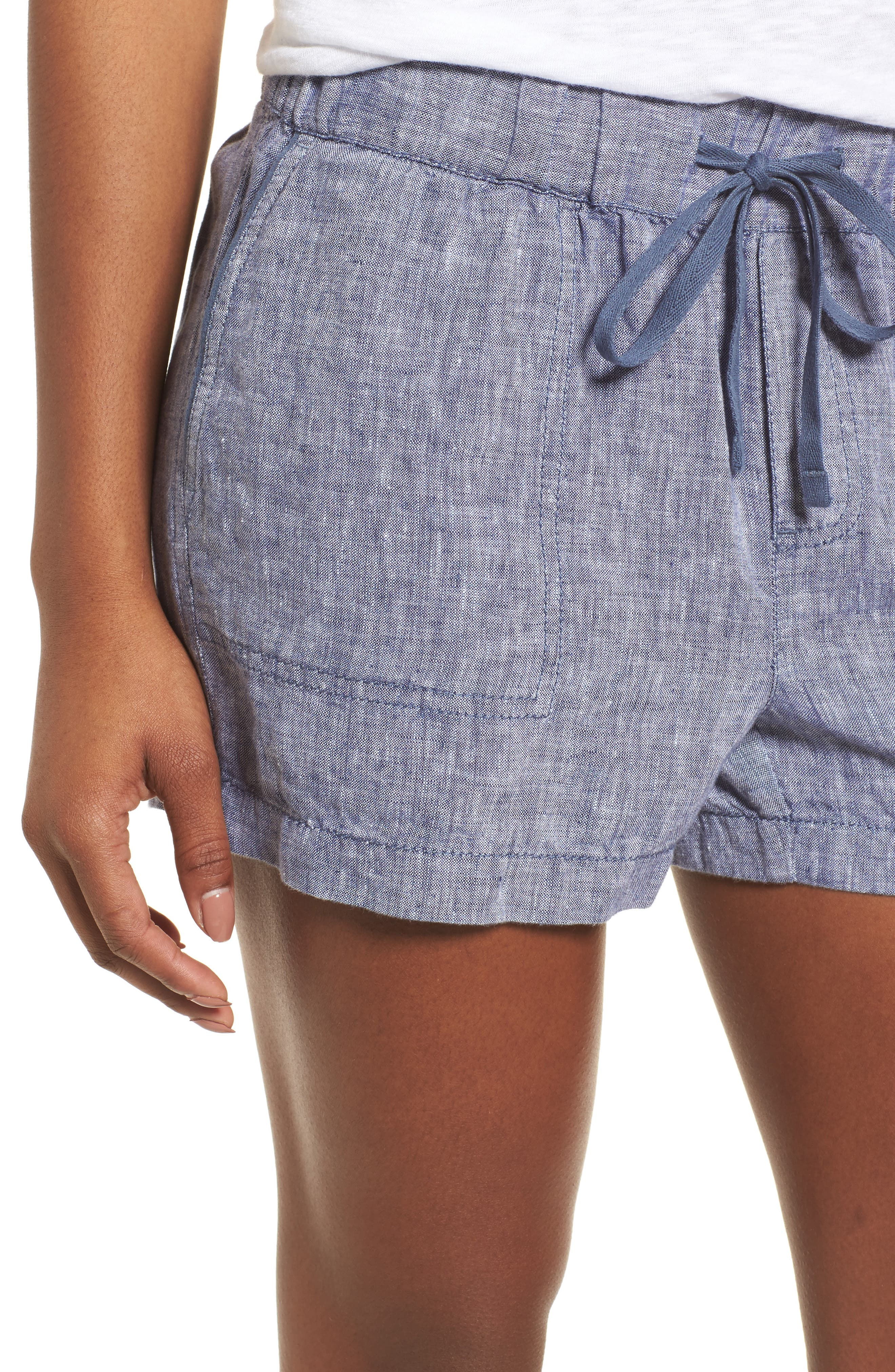 Linen Shorts,                             Alternate thumbnail 4, color,                             NAVY CROSSDYE