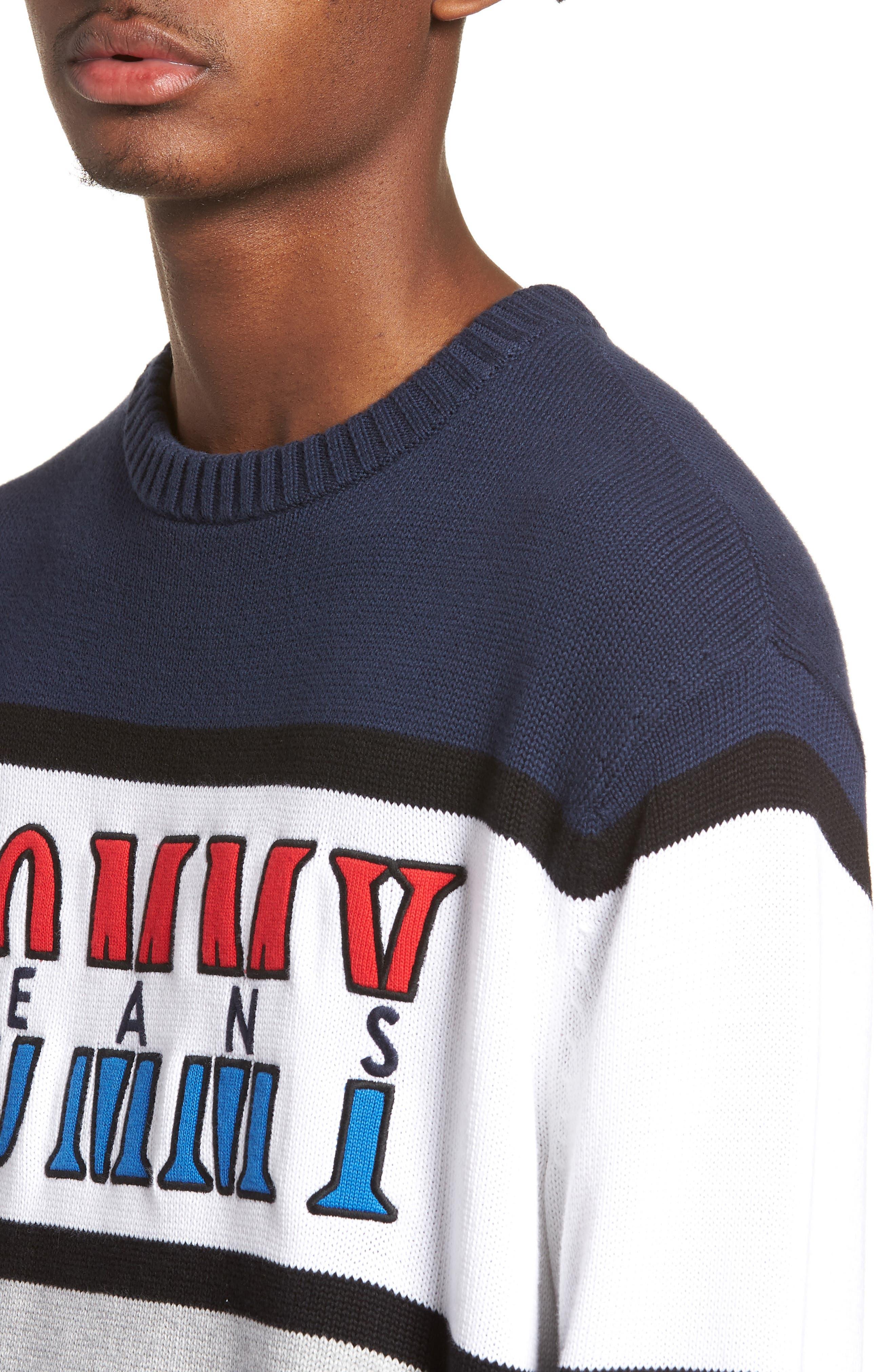 Retro Colorblock Sweater,                             Alternate thumbnail 4, color,                             400