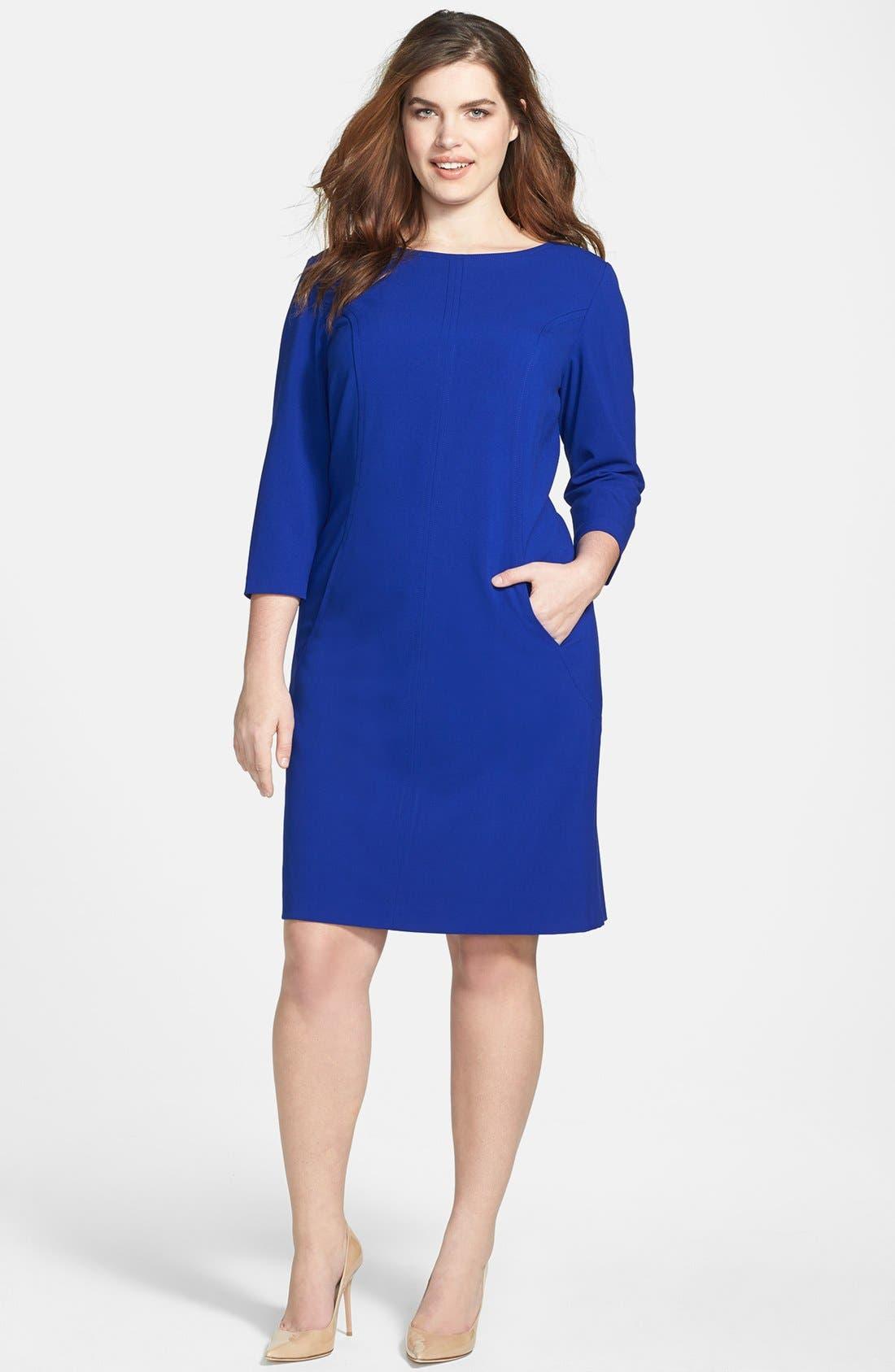 by Arthur S. Levine Seamed A-Line Dress,                             Alternate thumbnail 4, color,                             450