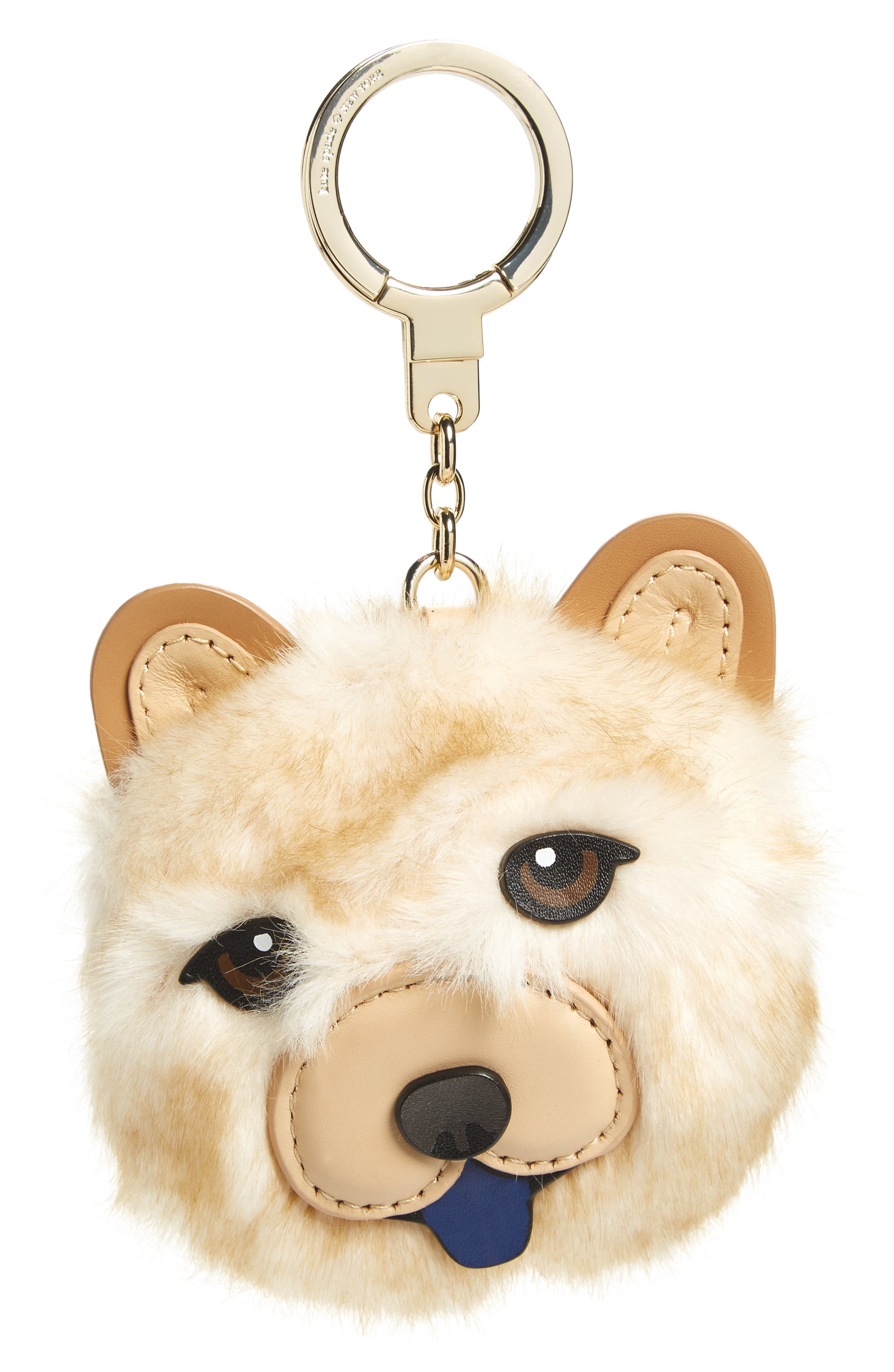 chow chow dog bag charm with faux fur,                         Main,                         color, 250
