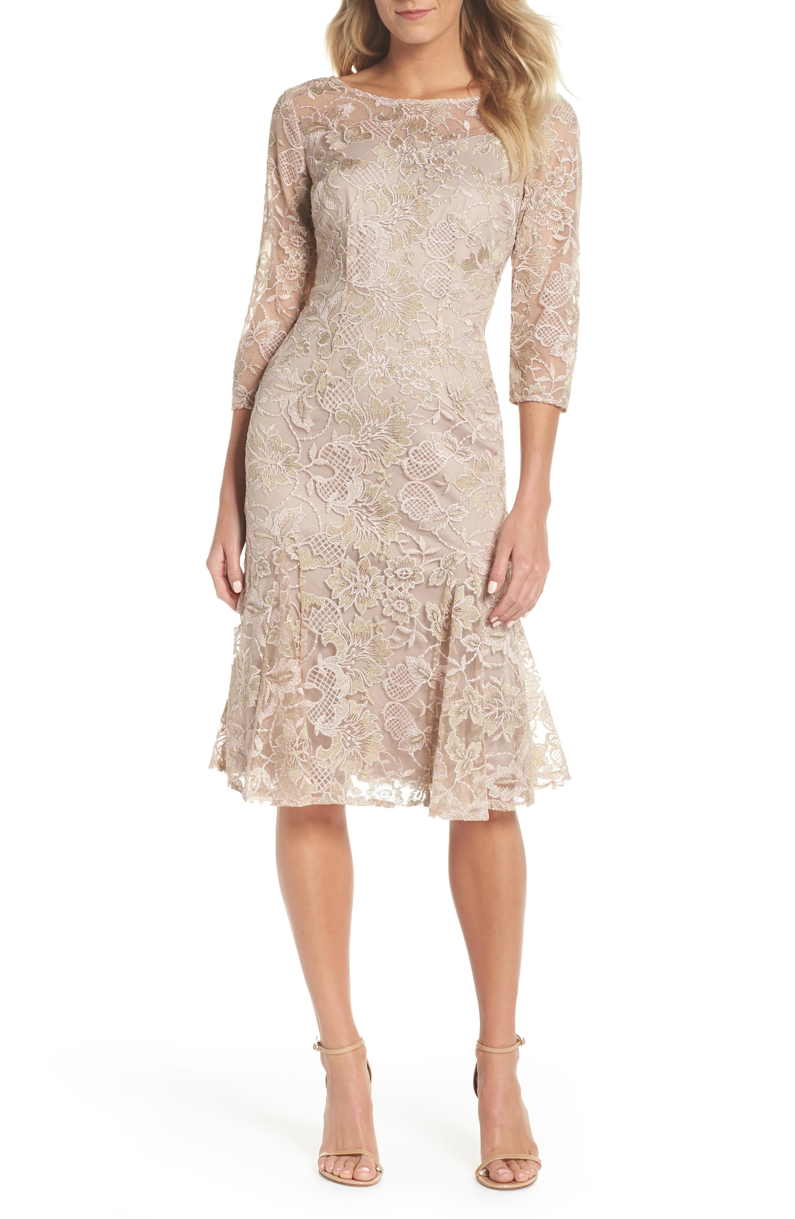 Alex Evenings Embroidered Flare Hem Dress