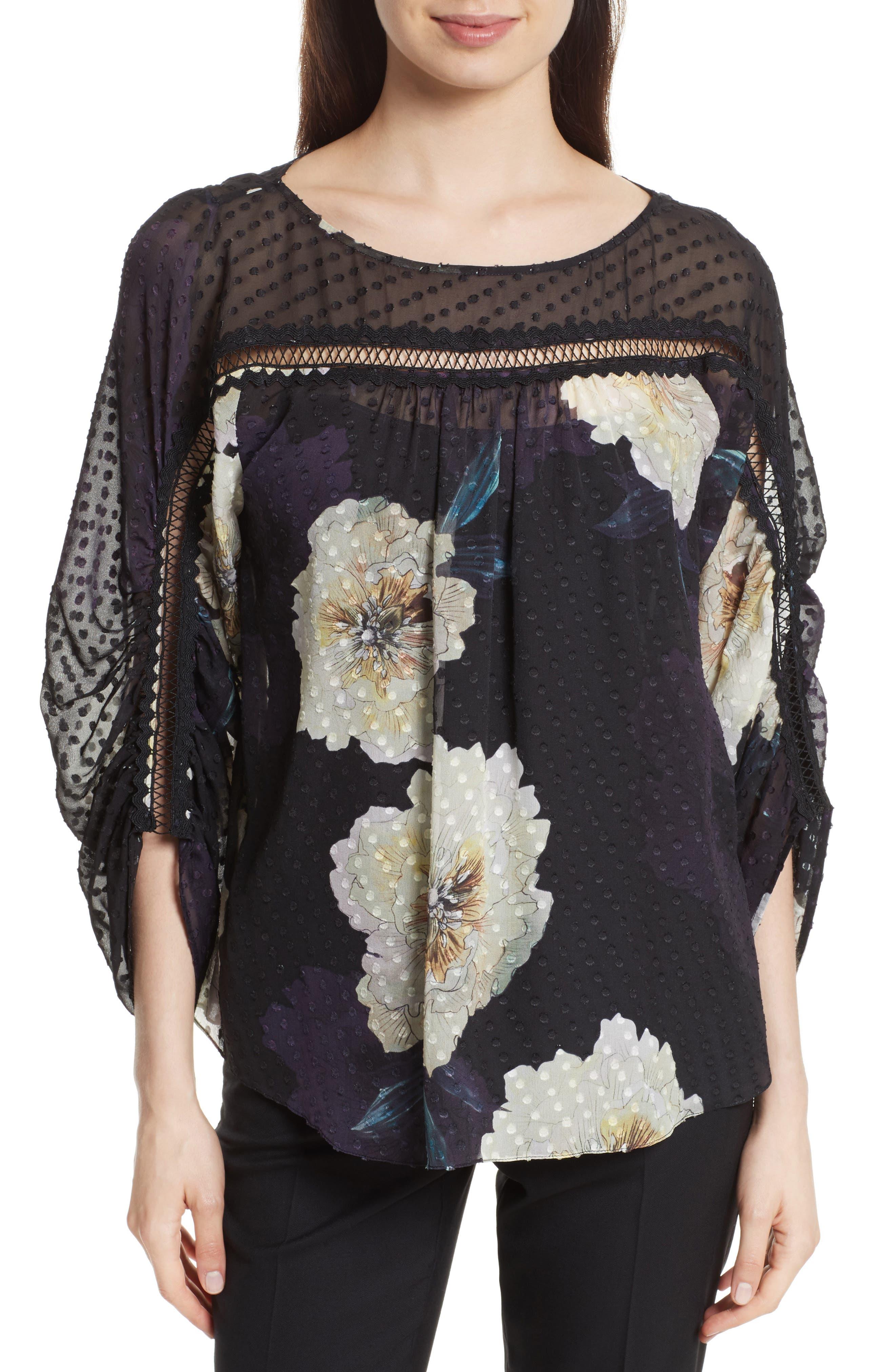 Silk Blossom Blouse,                         Main,                         color, 017