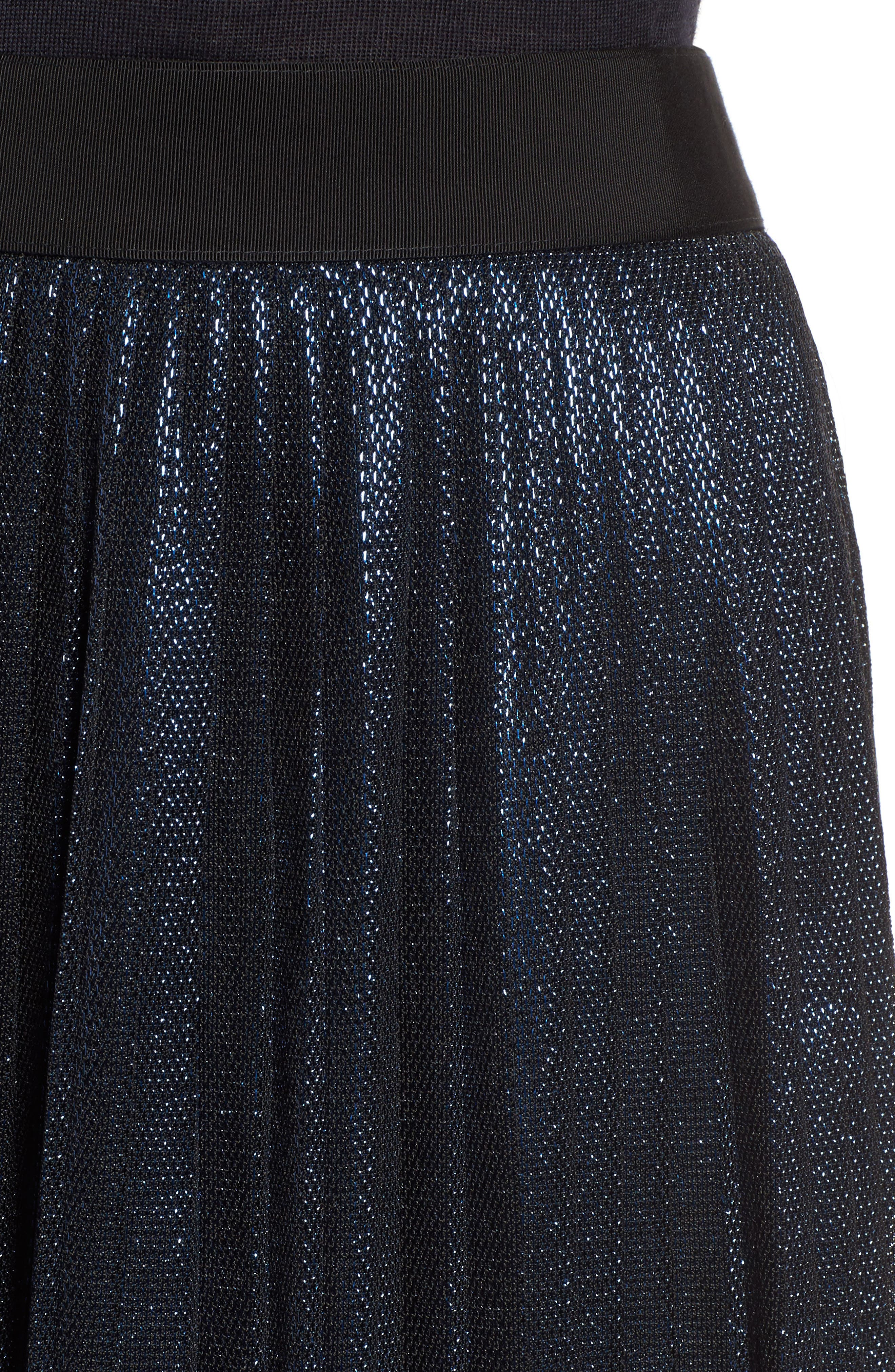Miplisa Metallic Pleated Midi Skirt,                             Alternate thumbnail 4, color,                             480