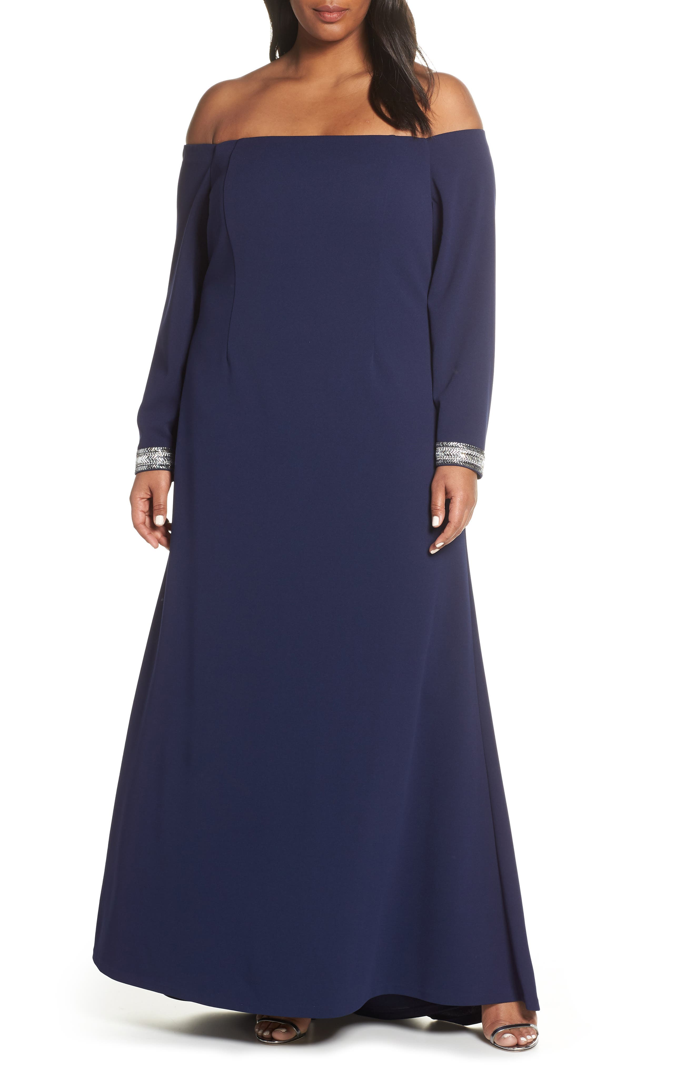 Plus Size Vince Camuto Crystal Cuff Off The Shoulder Long Sleeve Crepe Dress, Blue