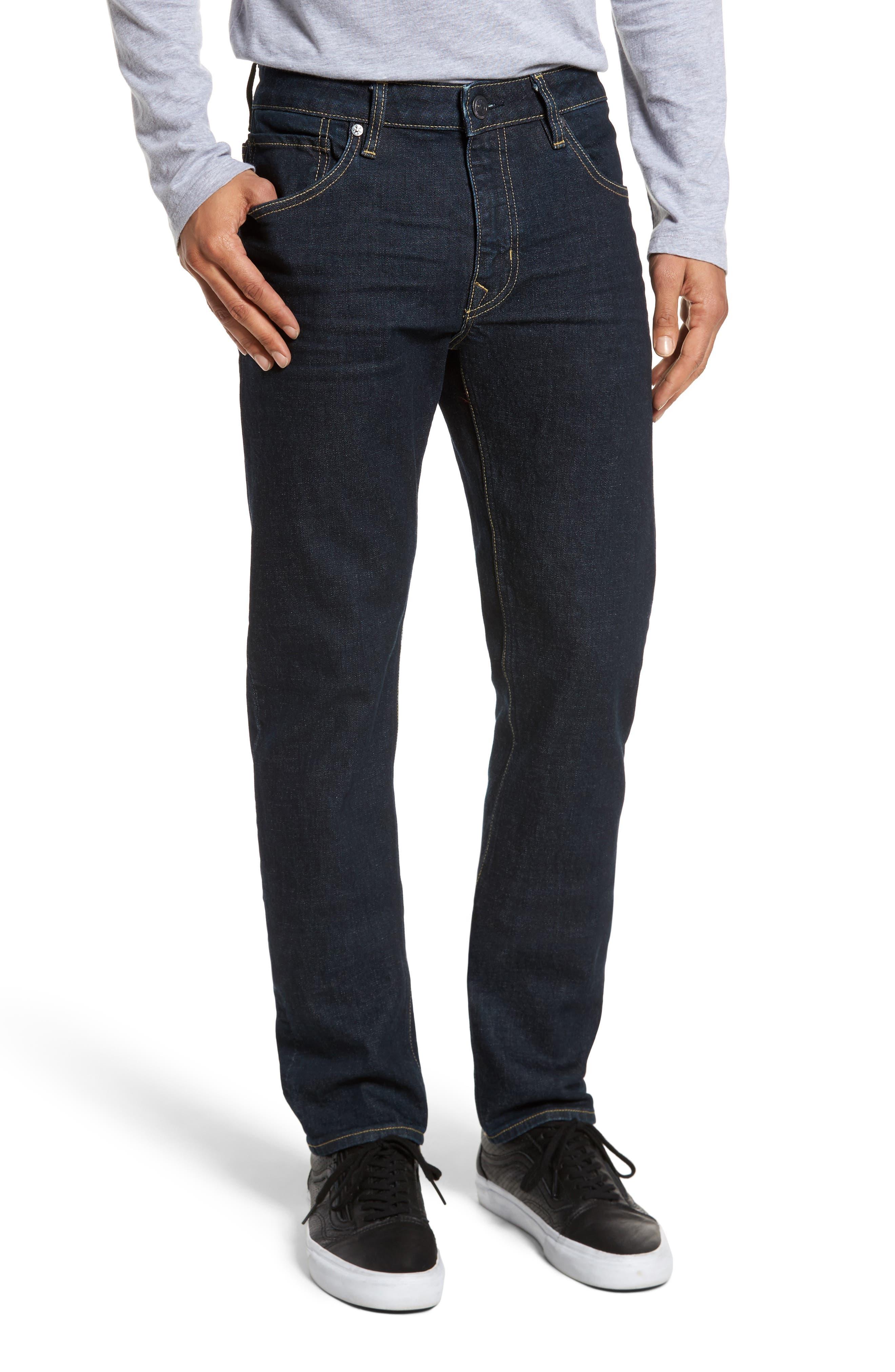 VIGOSS Slim Straight Leg Jeans, Main, color, DARK RINSE
