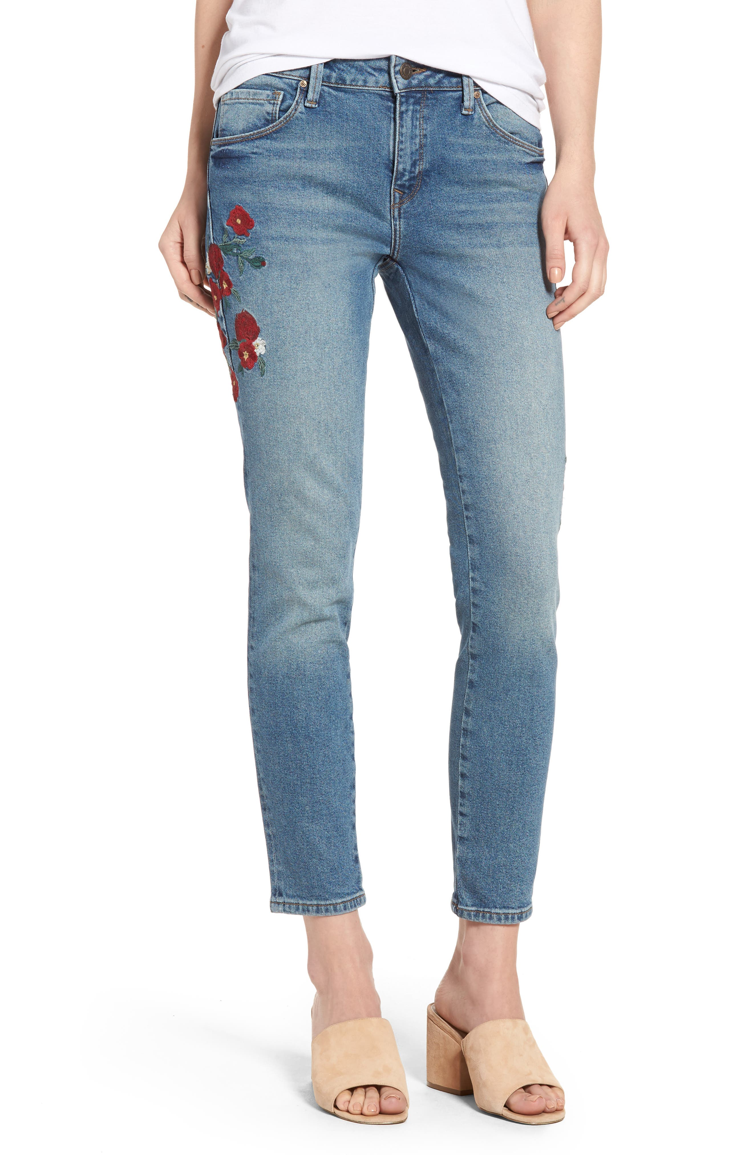 Adriana Embroidered Ankle Skinny Jeans,                             Main thumbnail 1, color,                             420