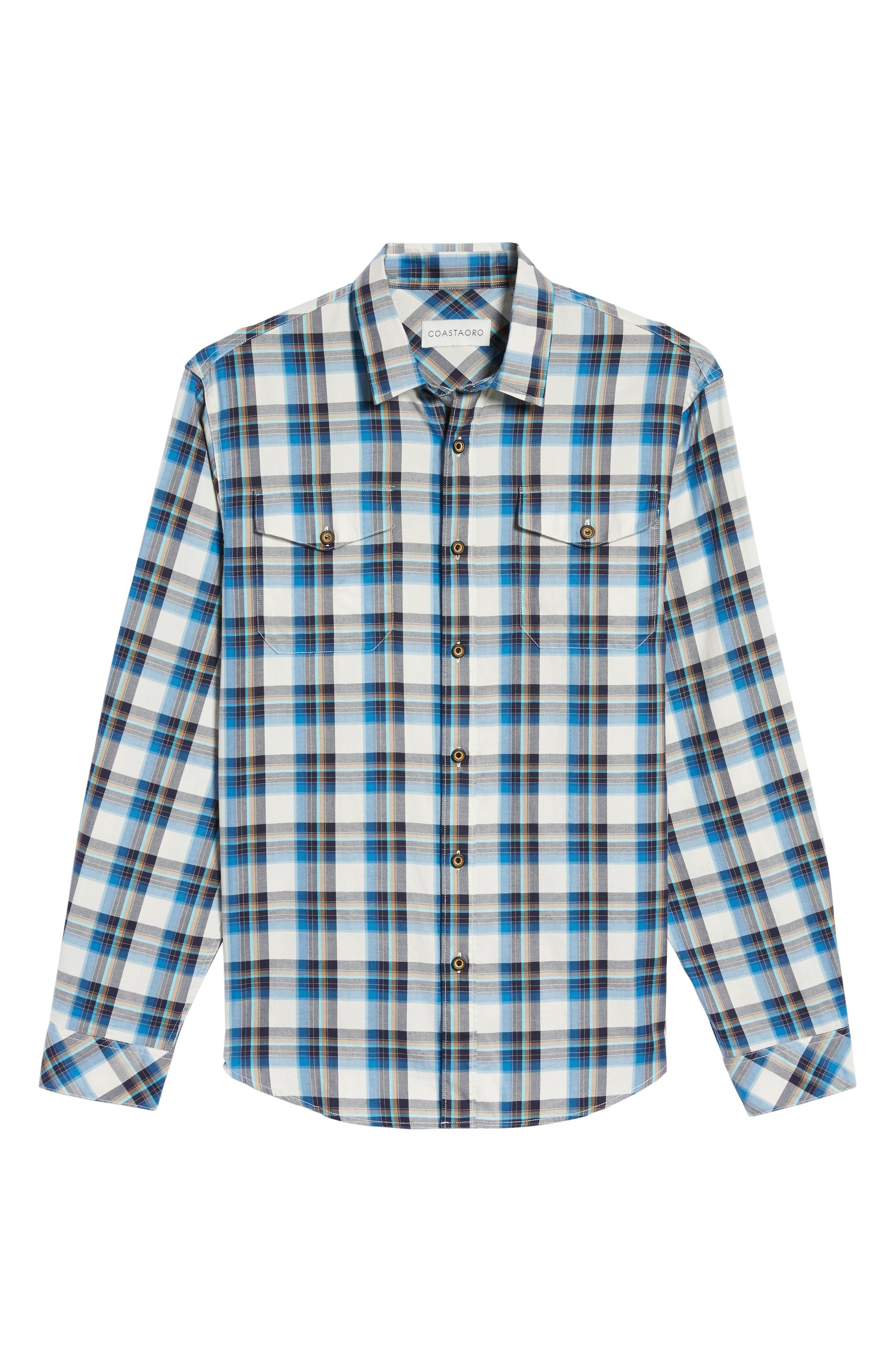 Seacliff Plaid Flannel Shirt,                             Alternate thumbnail 6, color,                             439