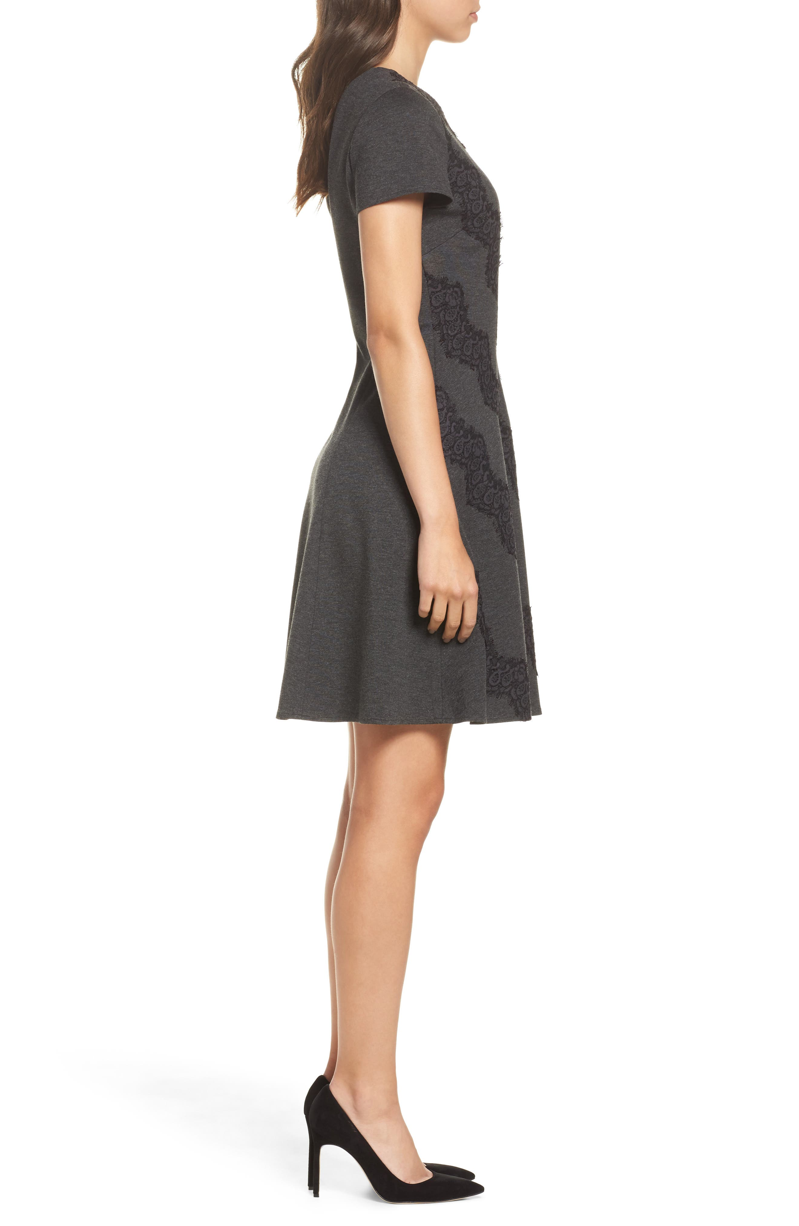 Placed Lace Fit & Flare Dress,                             Alternate thumbnail 3, color,                             030
