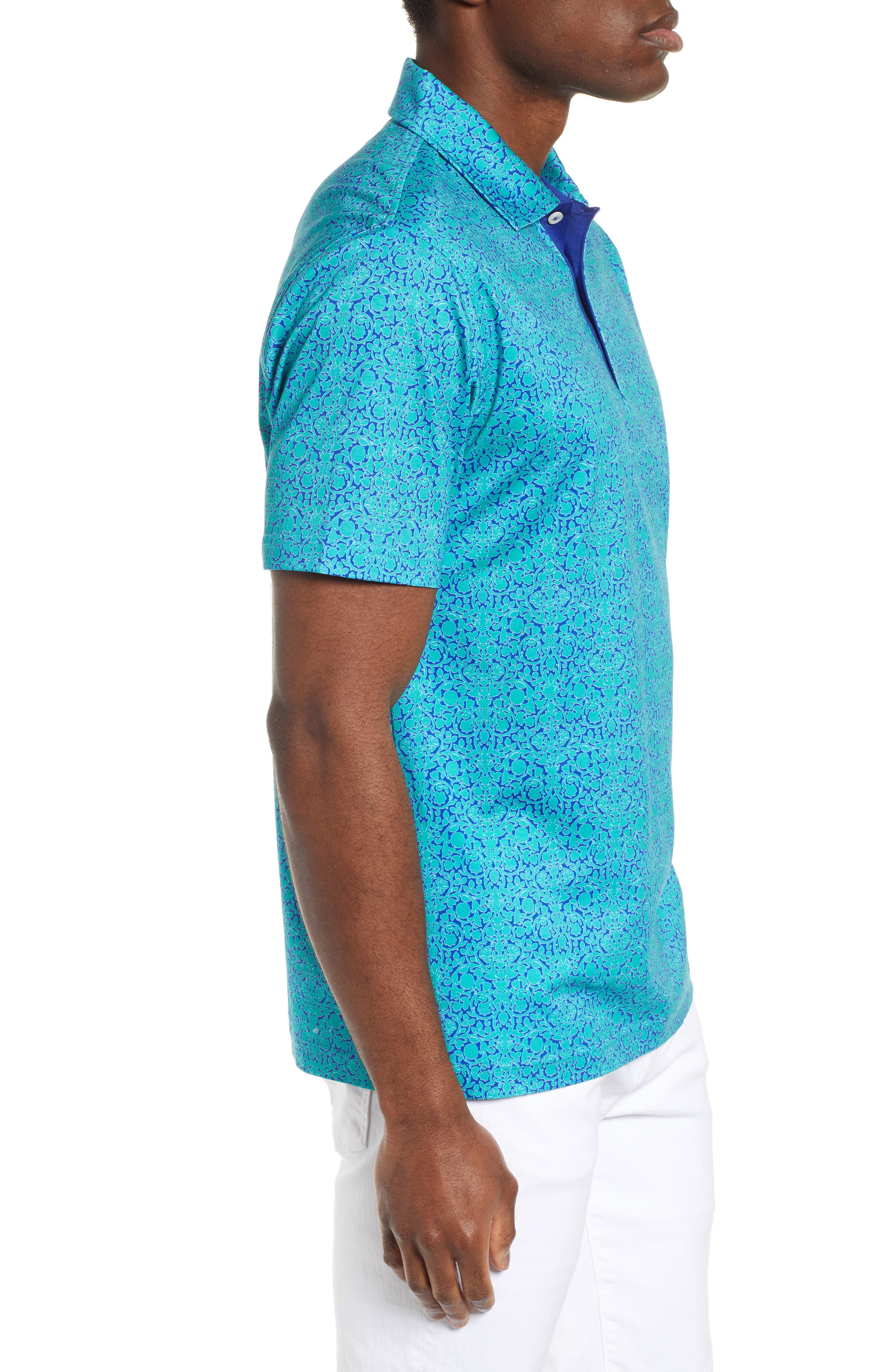 BUGATCHI,                             Regular Fit Digital Print Polo,                             Alternate thumbnail 3, color,                             EMERALD