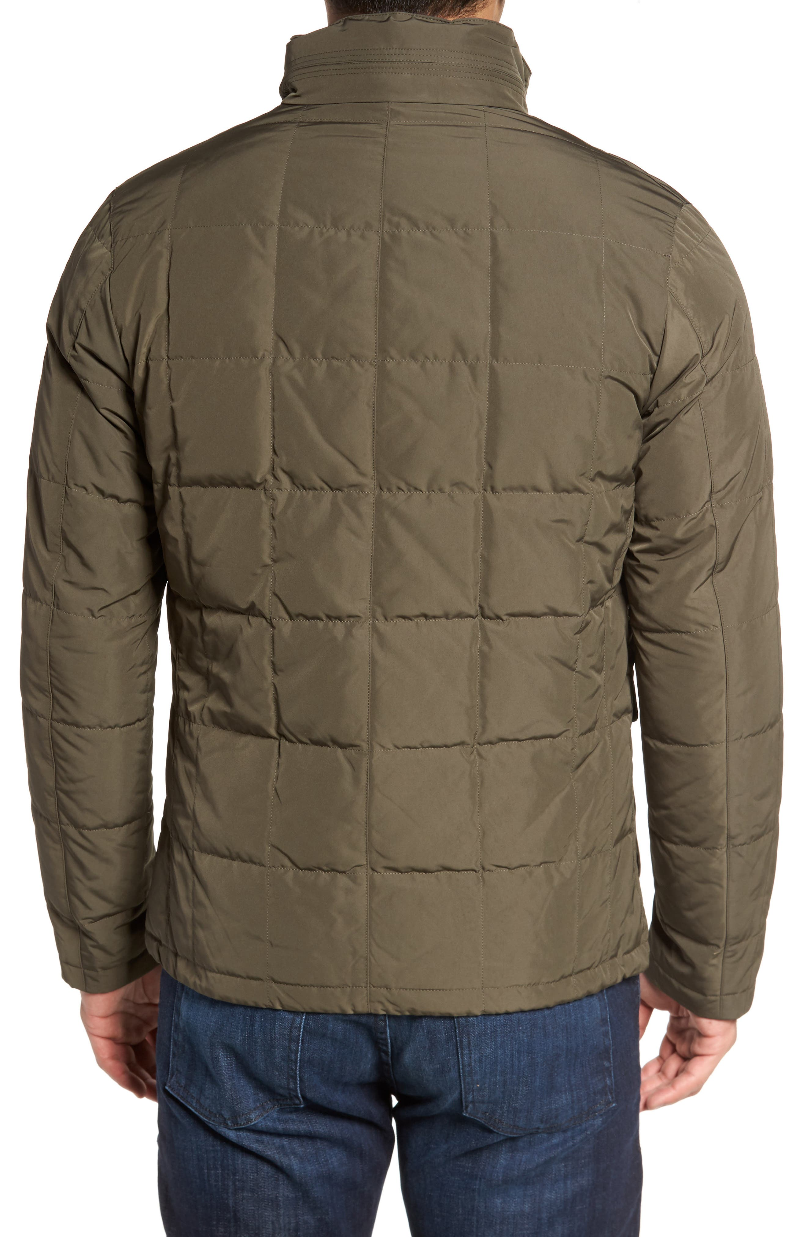 Quilted Down Field Jacket with Stowaway Hood,                             Alternate thumbnail 3, color,