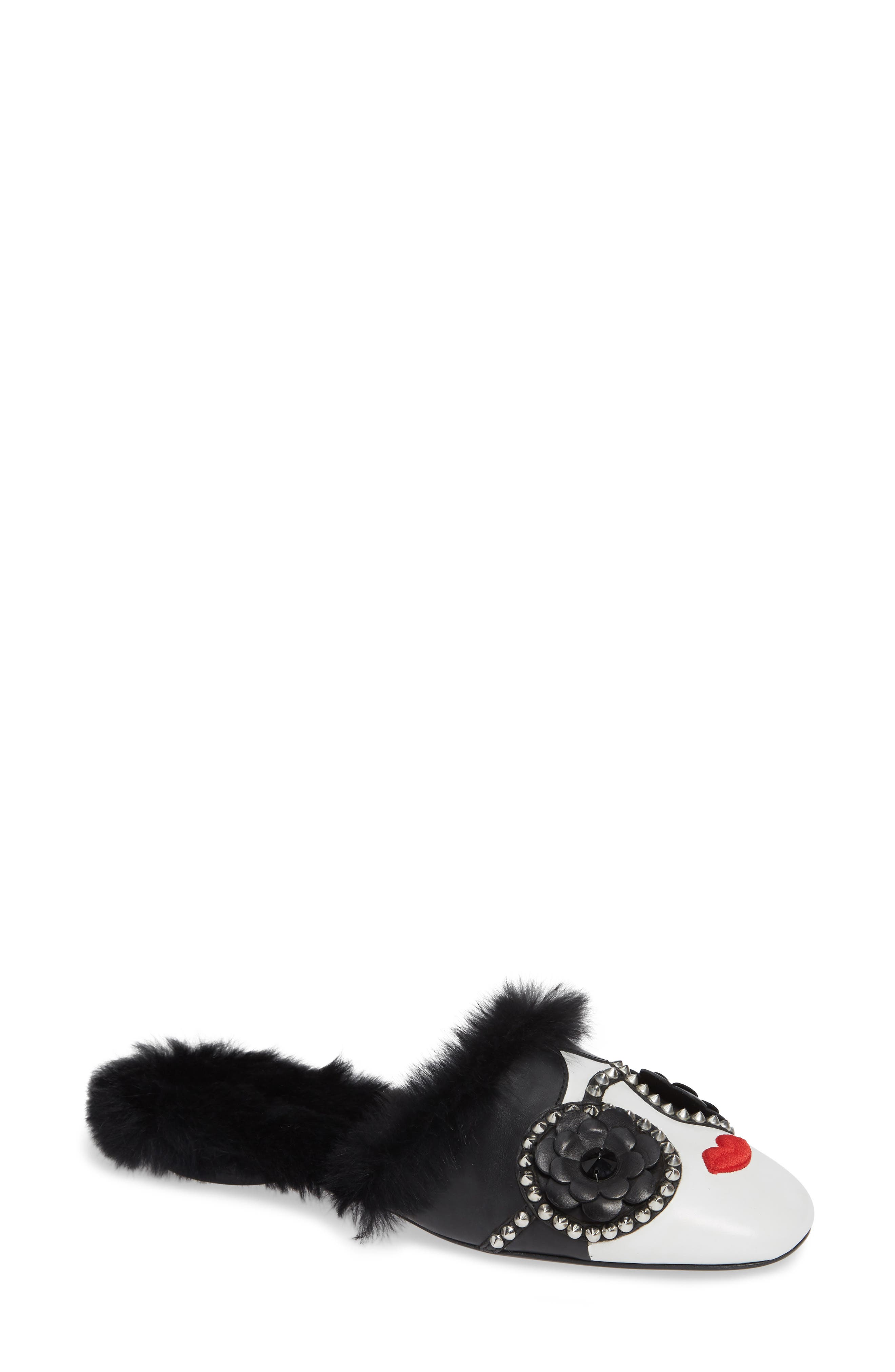 Maja Faux Fur-Lined Leather Slippers in White/ Black