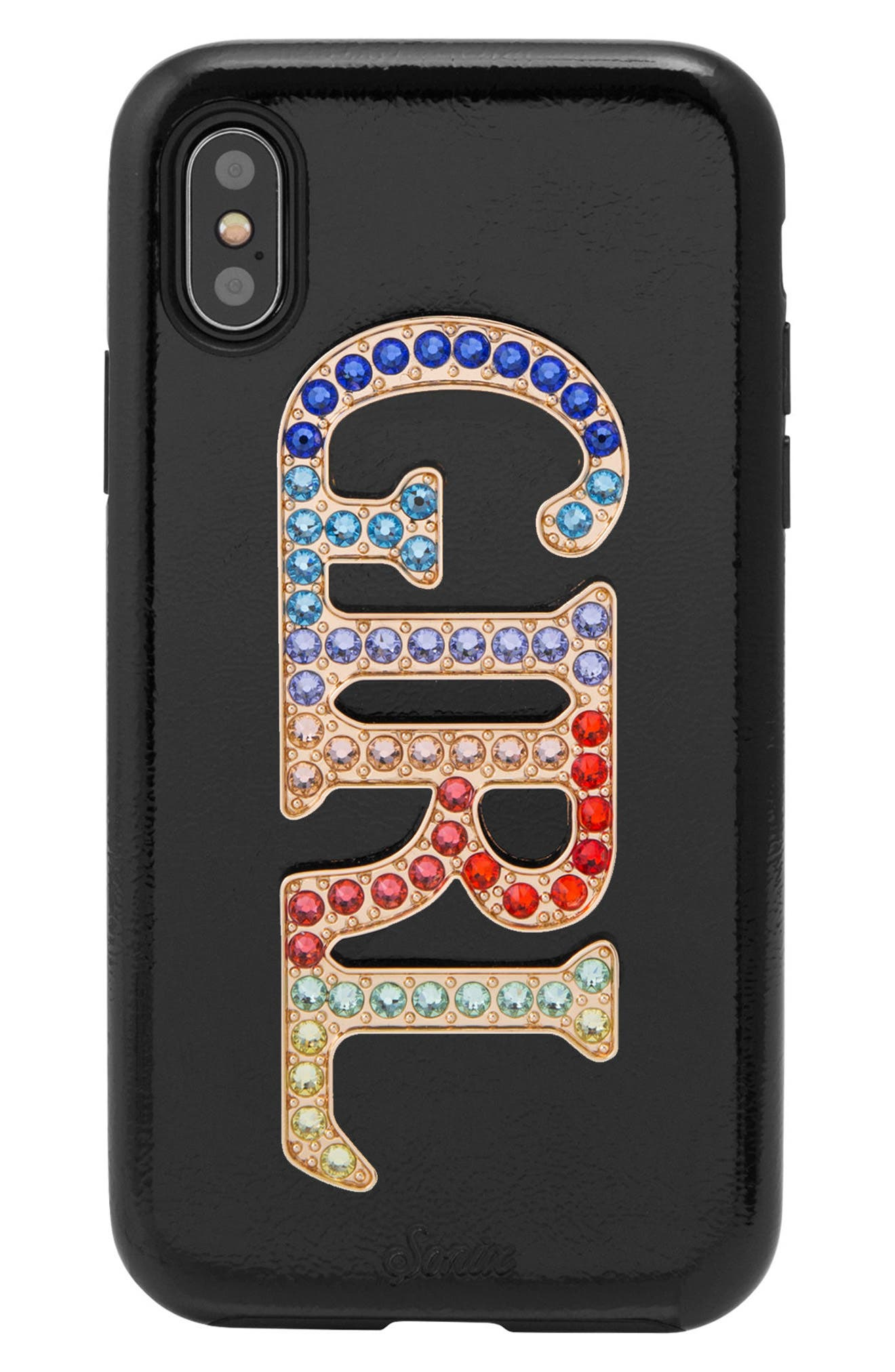 Swarovski Girl iPhone X & Xs Case,                             Main thumbnail 1, color,                             BLACK/ MULTI