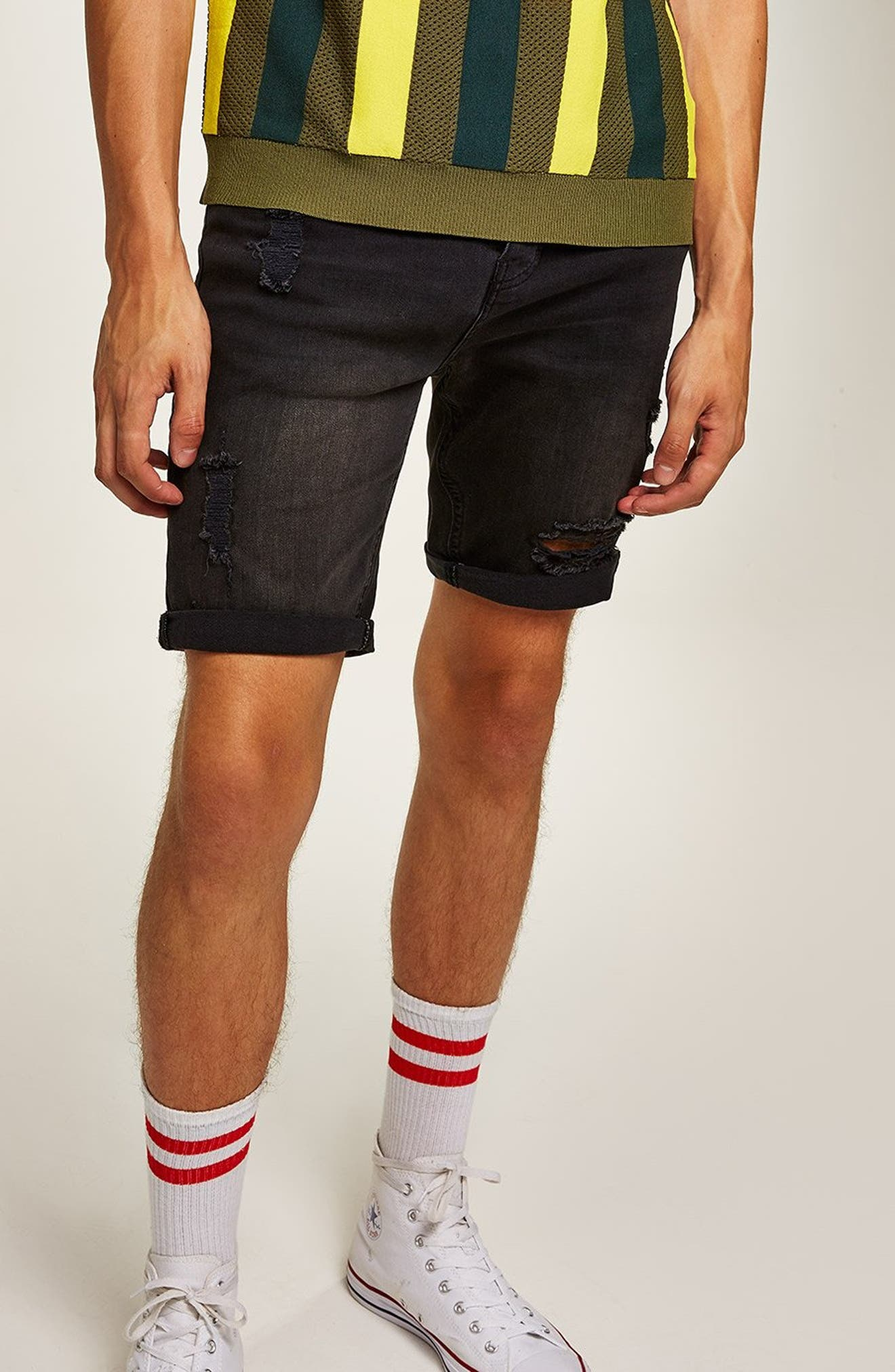 Finch Skinny Fit Ripped Shorts,                             Alternate thumbnail 4, color,                             001