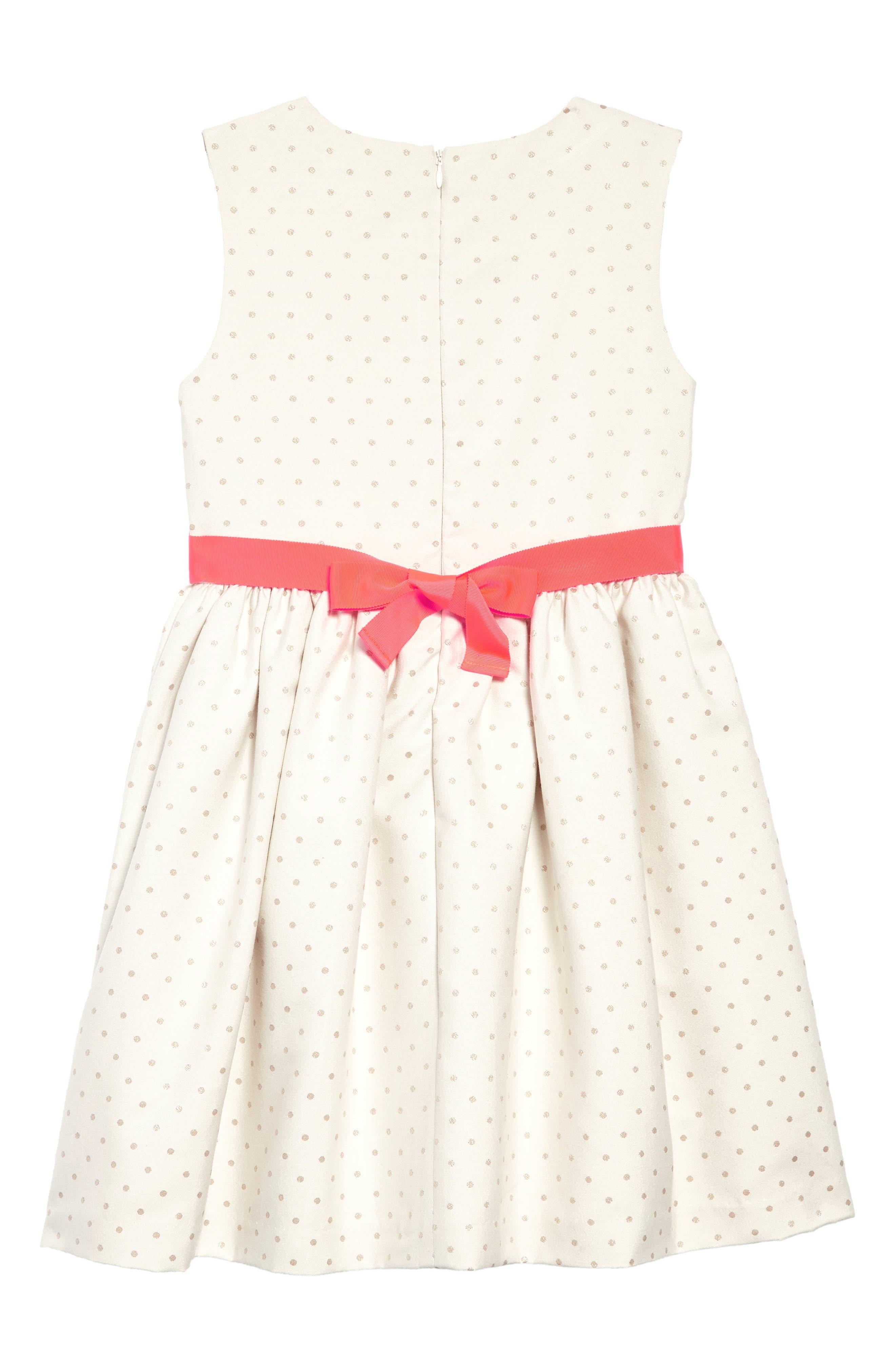 MINI BODEN,                             Metallic Dot Fit & Flare Dress,                             Alternate thumbnail 2, color,                             909