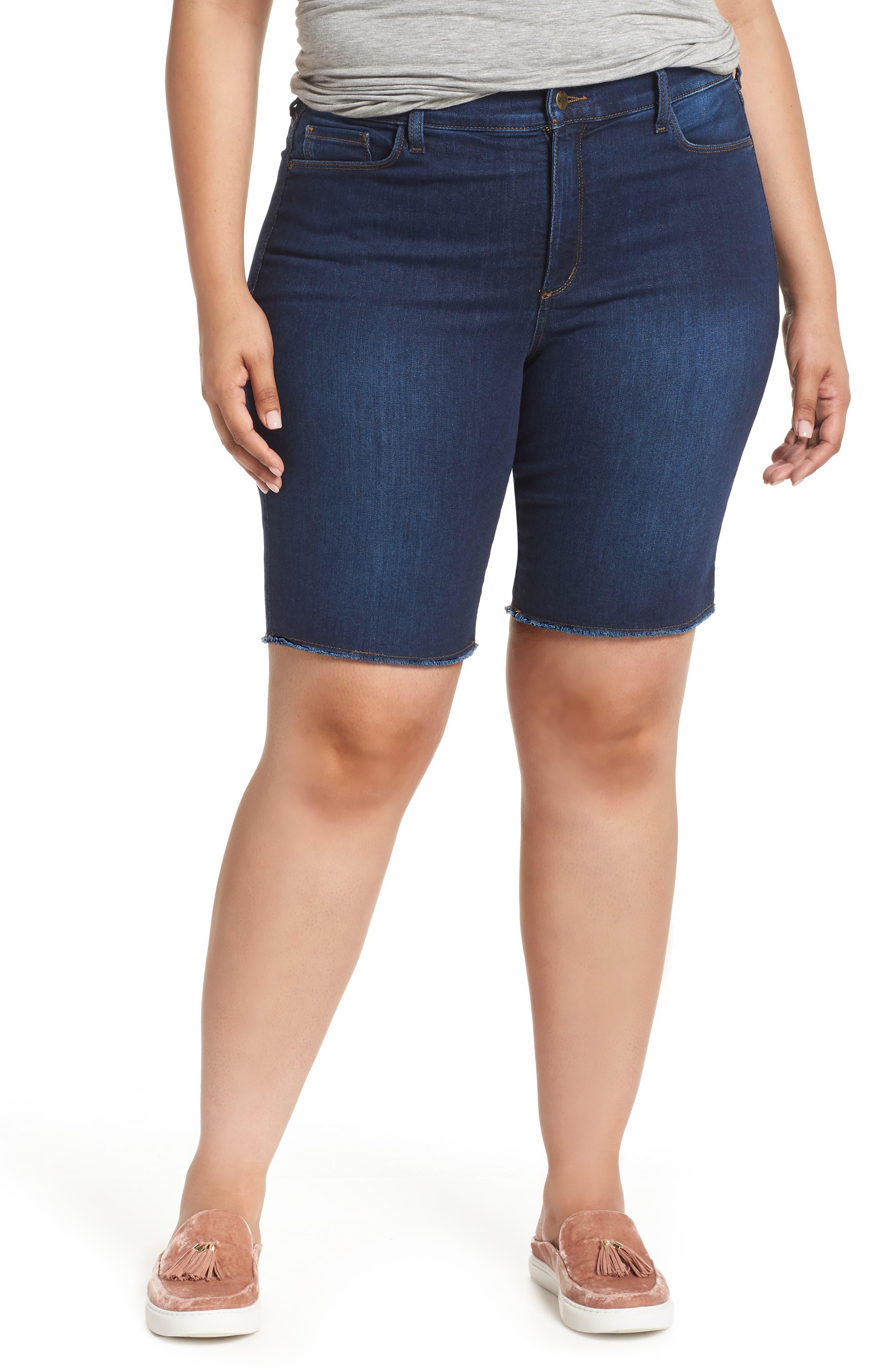 Briella Fray Hem Denim Bermuda Shorts,                             Main thumbnail 2, color,