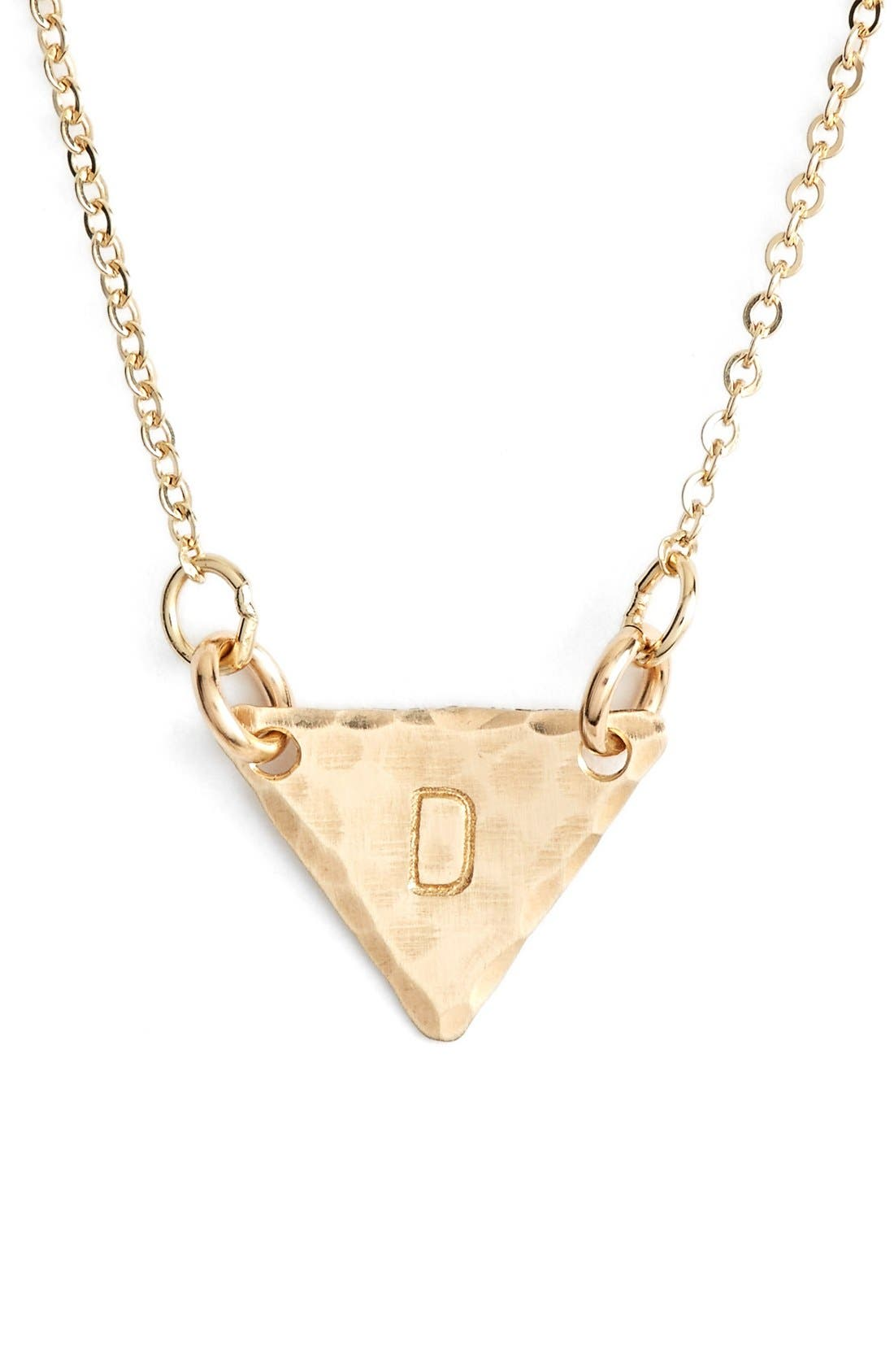14k-Gold Fill Initial Triangle Necklace,                             Main thumbnail 4, color,