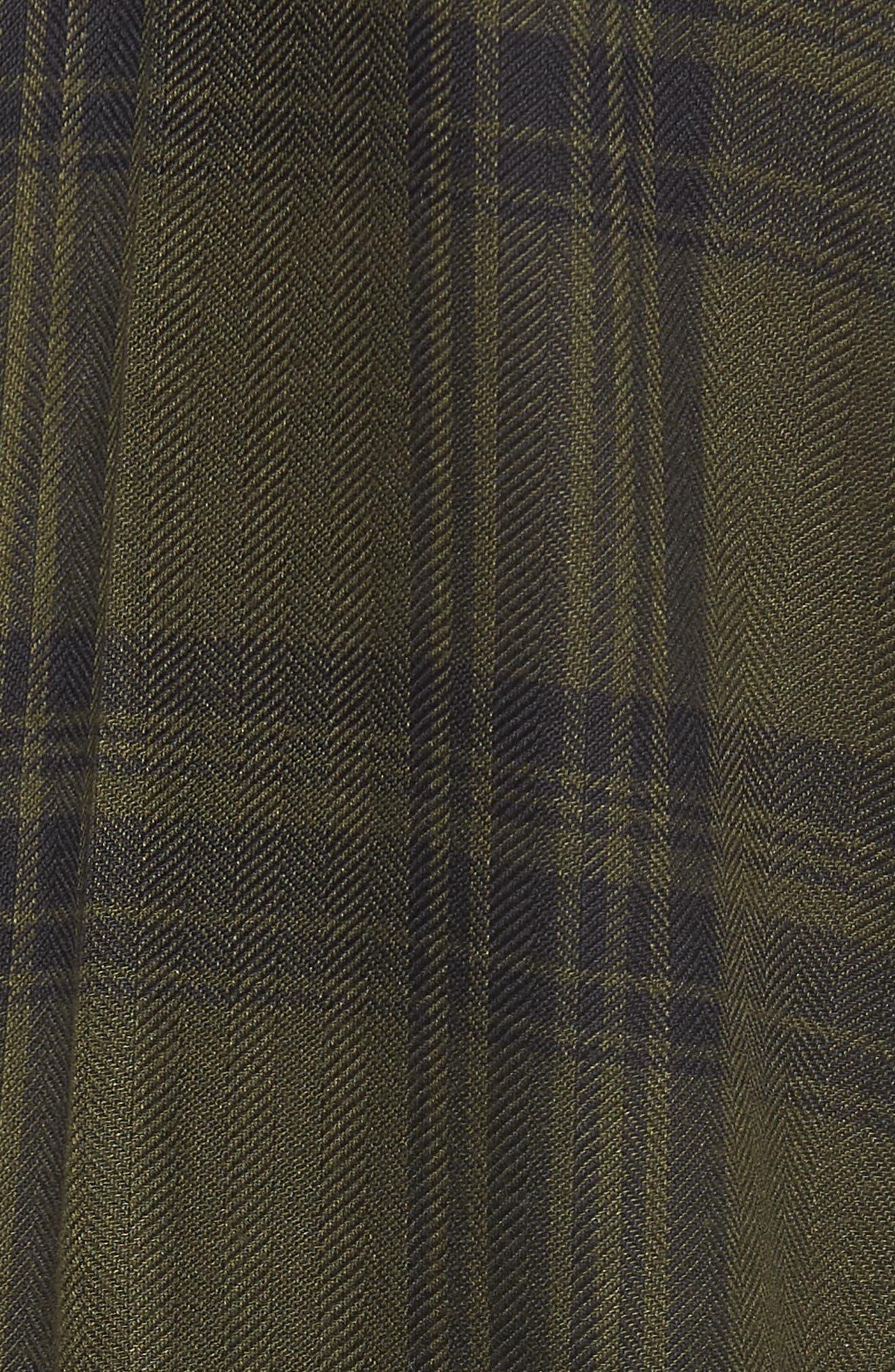 Fem Flannel Shirt,                             Alternate thumbnail 5, color,                             GREEN PLAID