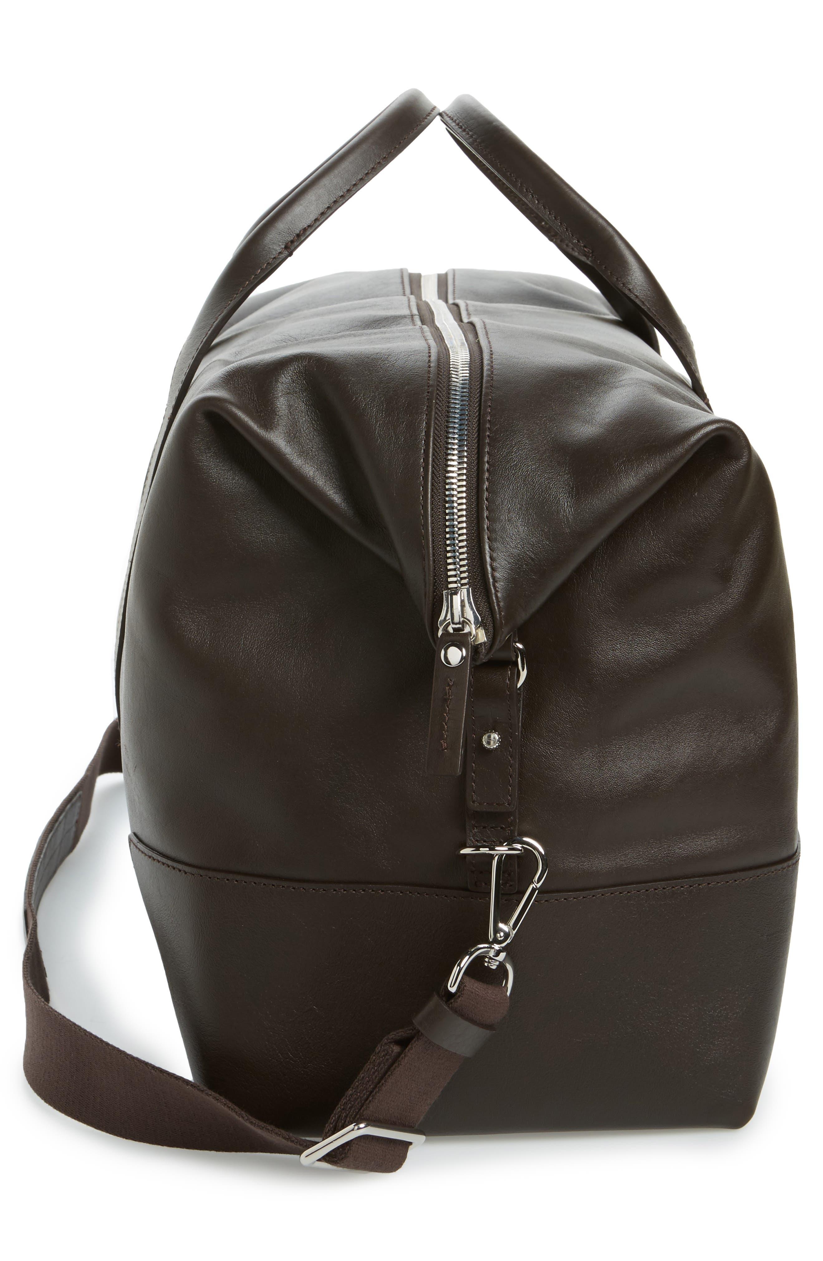 Signature Leather Duffel Bag,                             Alternate thumbnail 5, color,                             DEEP BROWN