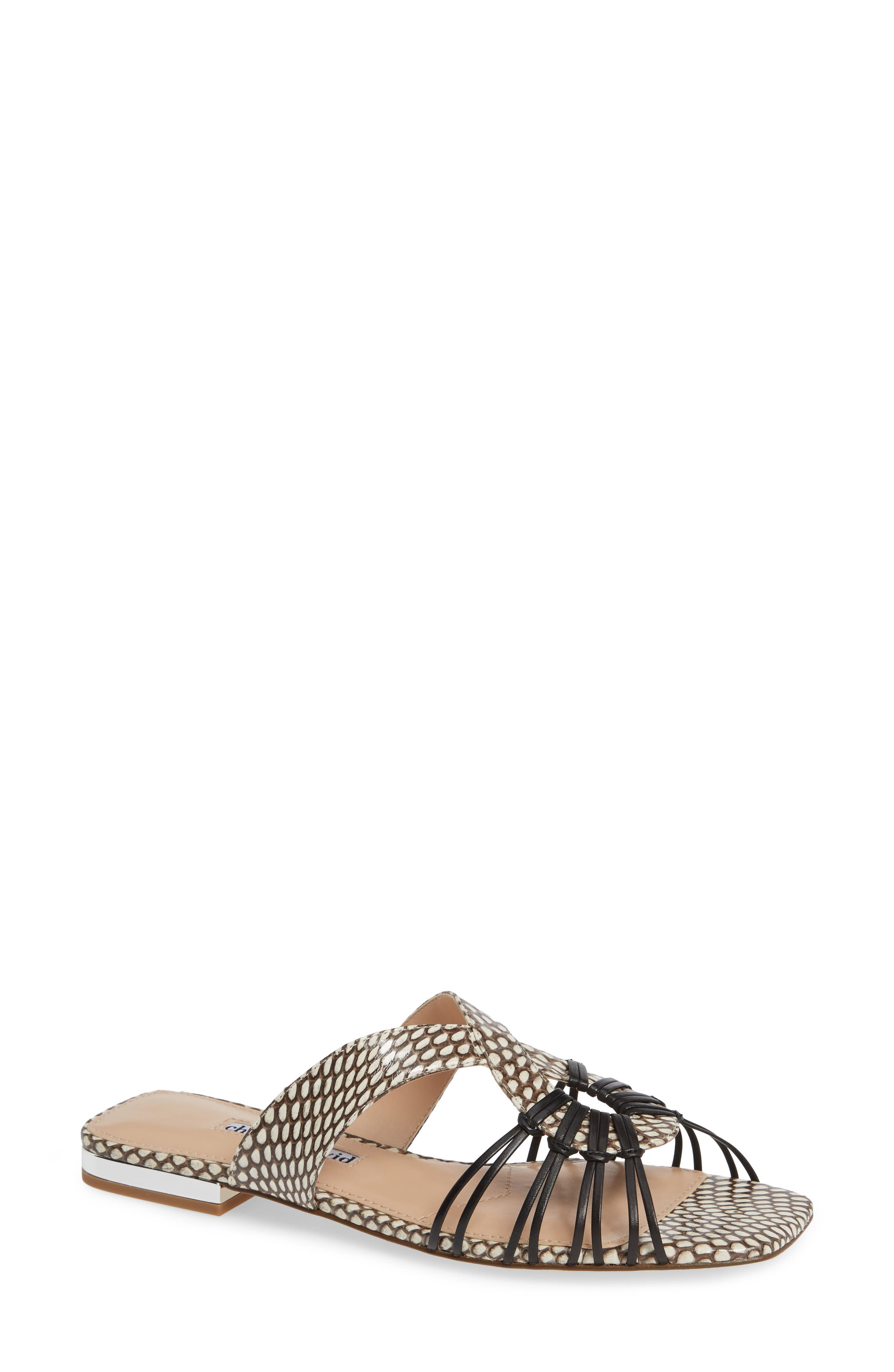 Silvy Sandal, Main, color, BLACK/WHITE SNAKE LEATHER