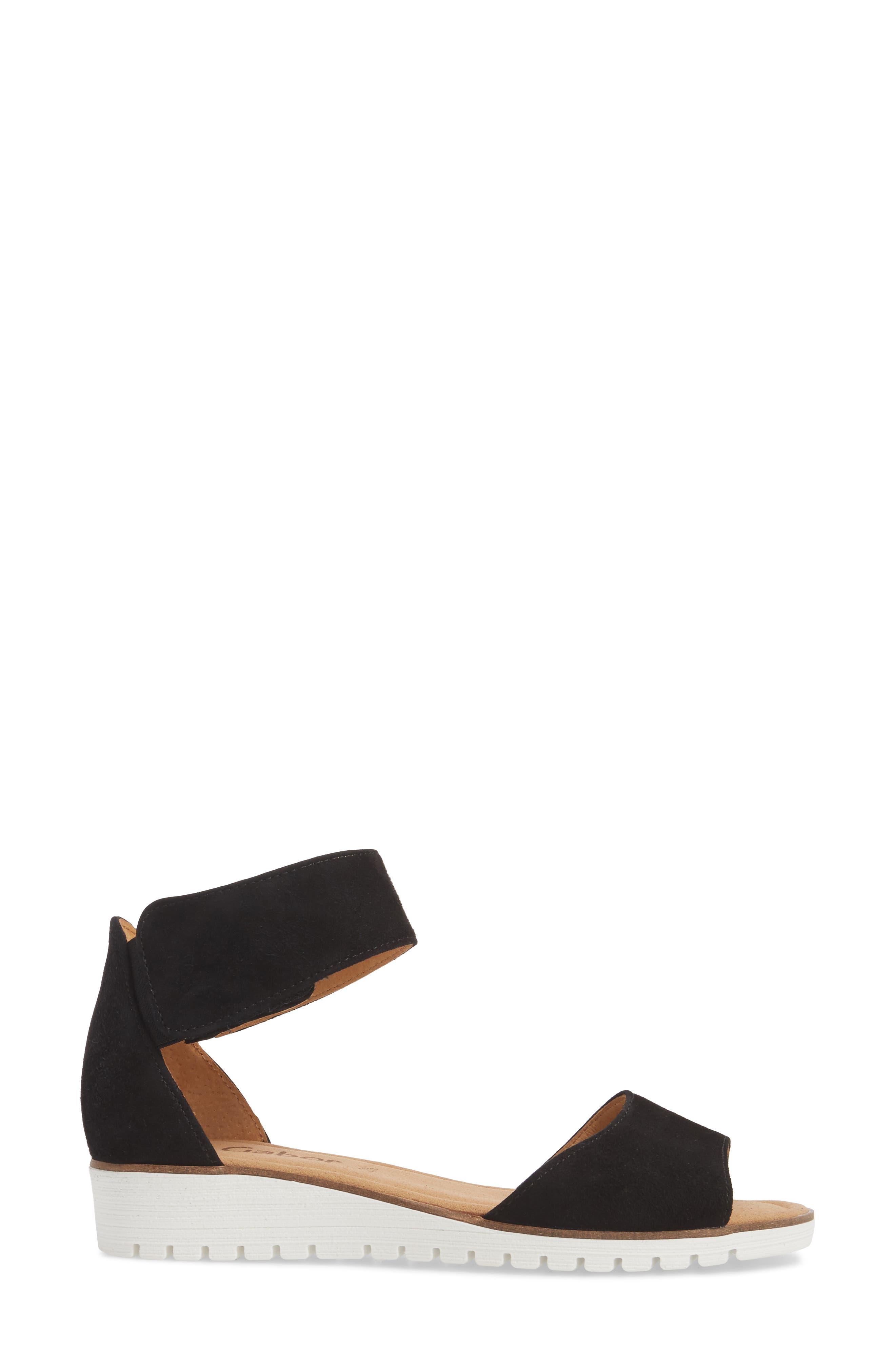 Ankle Strap Sandal,                             Alternate thumbnail 3, color,                             BLACK SUEDE