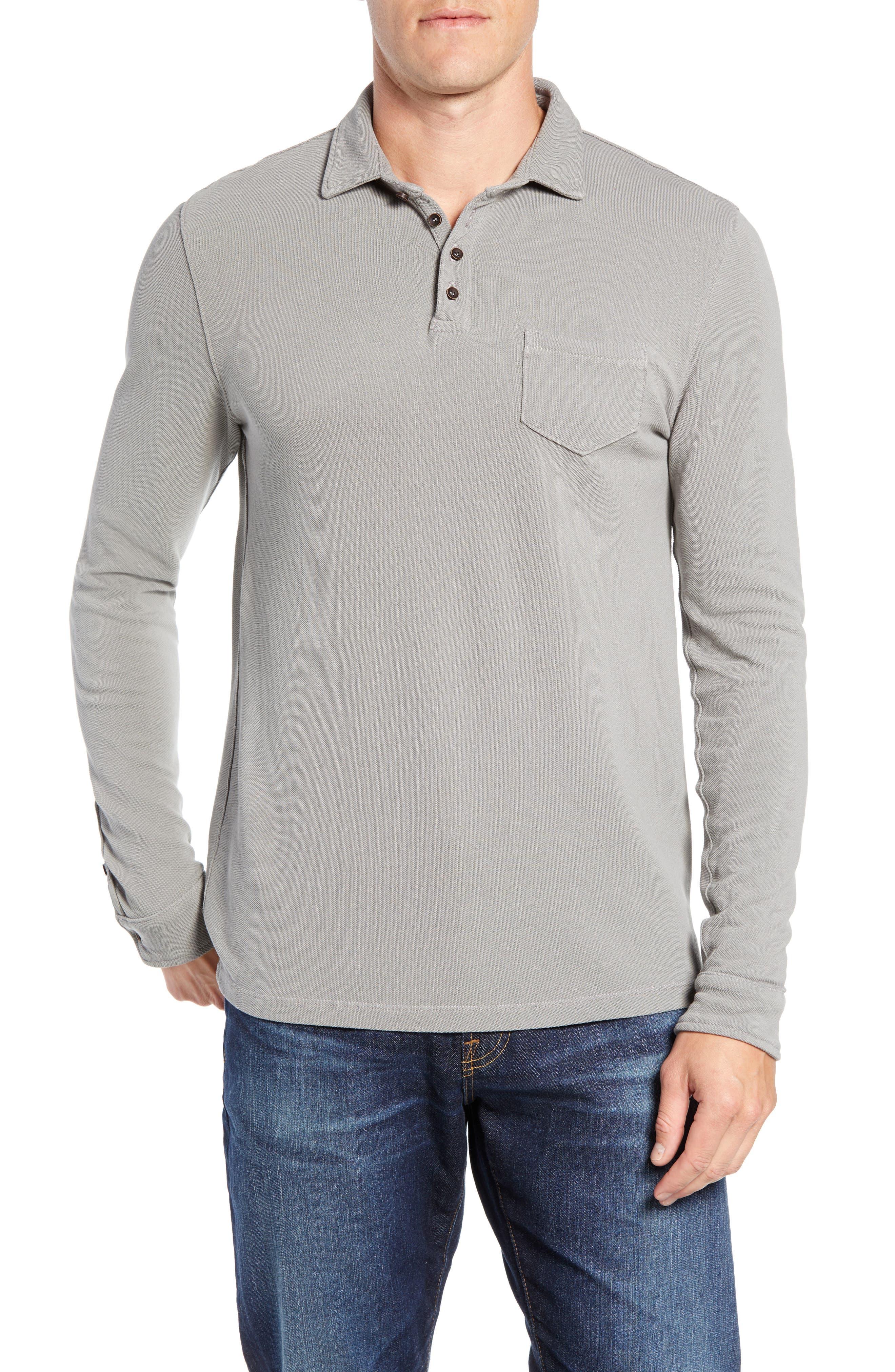 Regular Fit Long Sleeve Piqué Polo,                             Main thumbnail 1, color,                             GREY