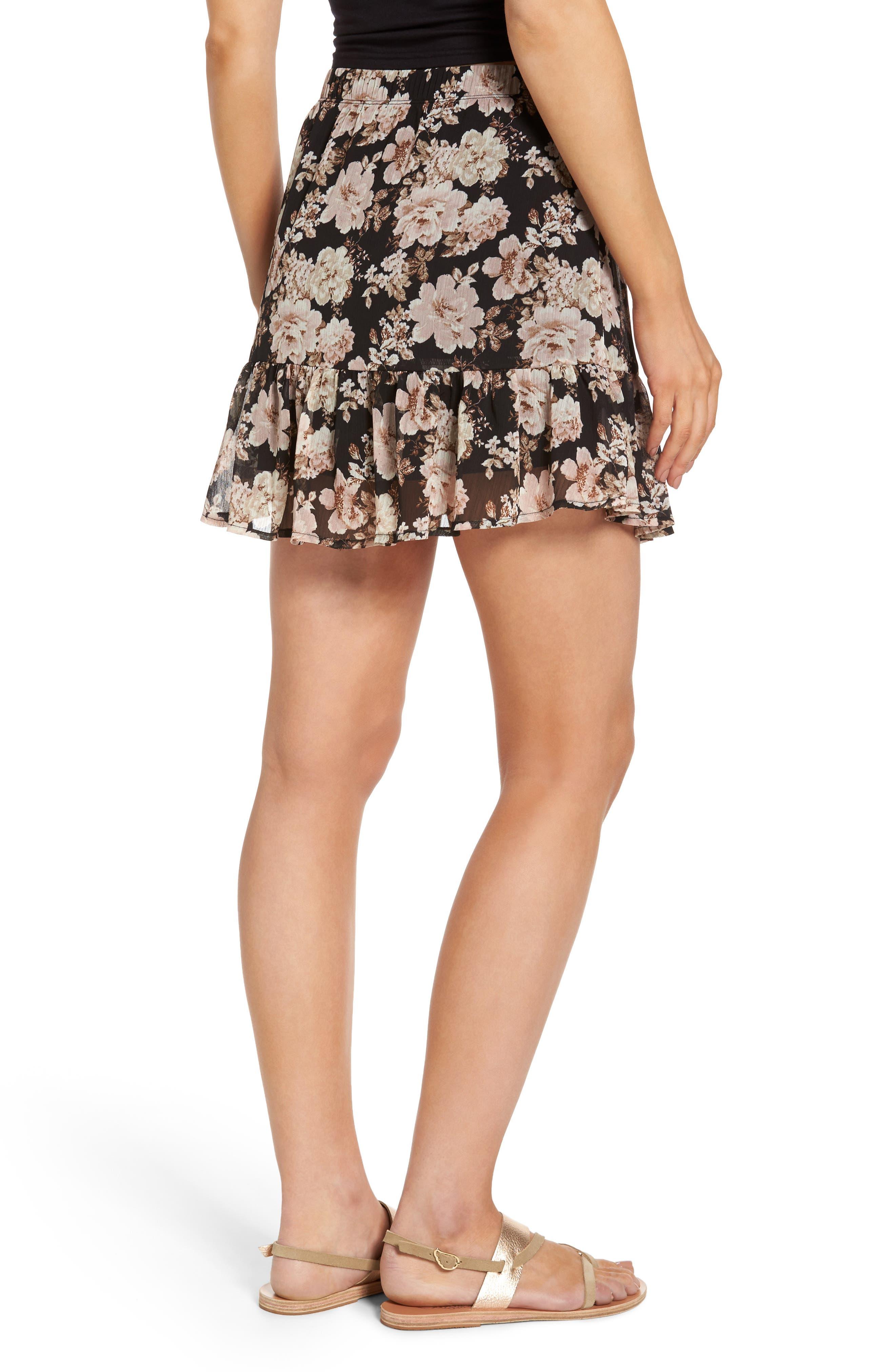 Floral Print Drop Waist Skirt,                             Alternate thumbnail 2, color,                             001