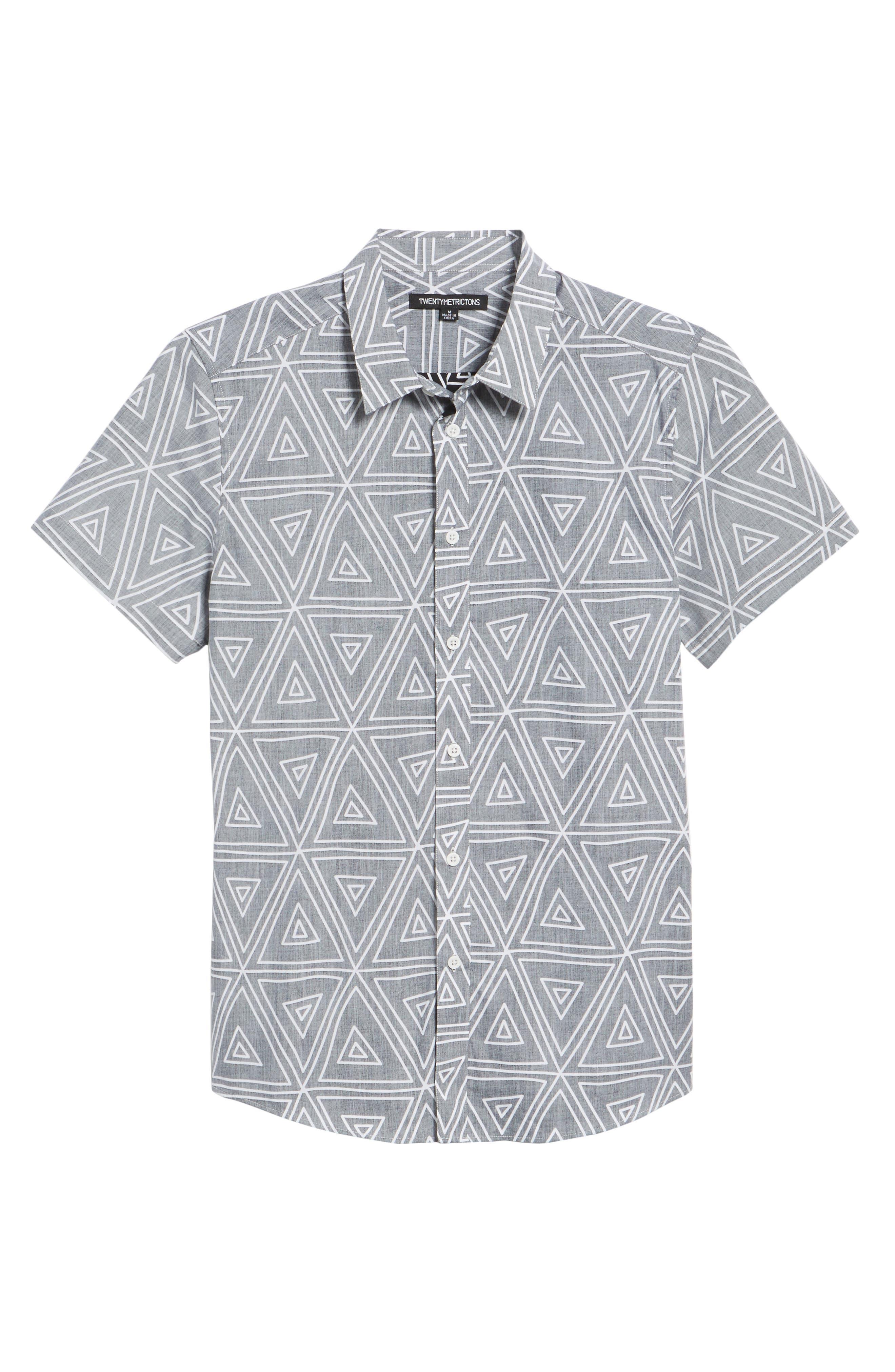 Geometric Woven Short Sleeve Shirt,                             Alternate thumbnail 6, color,                             004