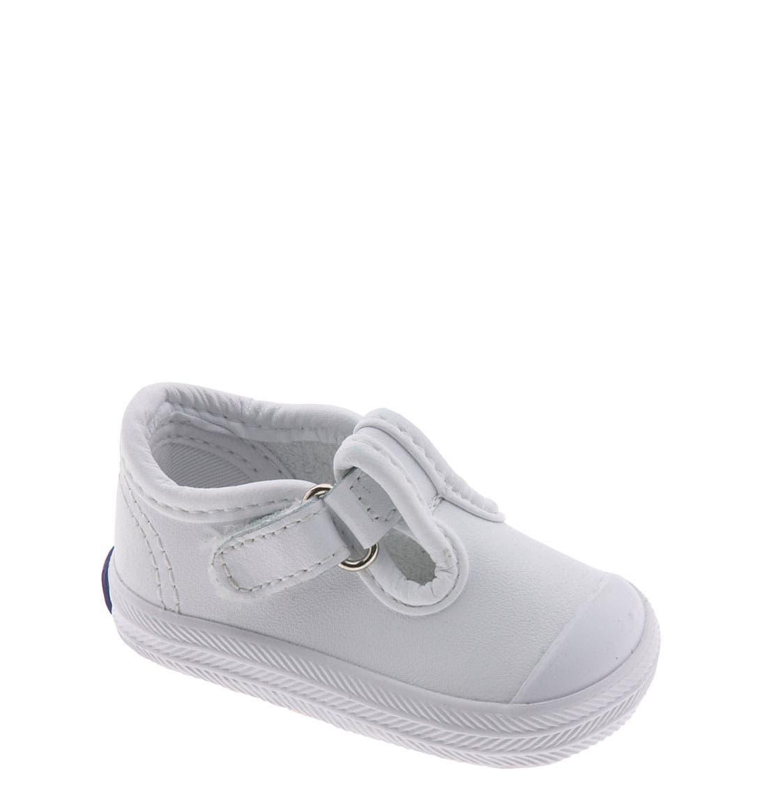 'Champion' T-Strap Shoe,                         Main,                         color, WHITE LEATHER