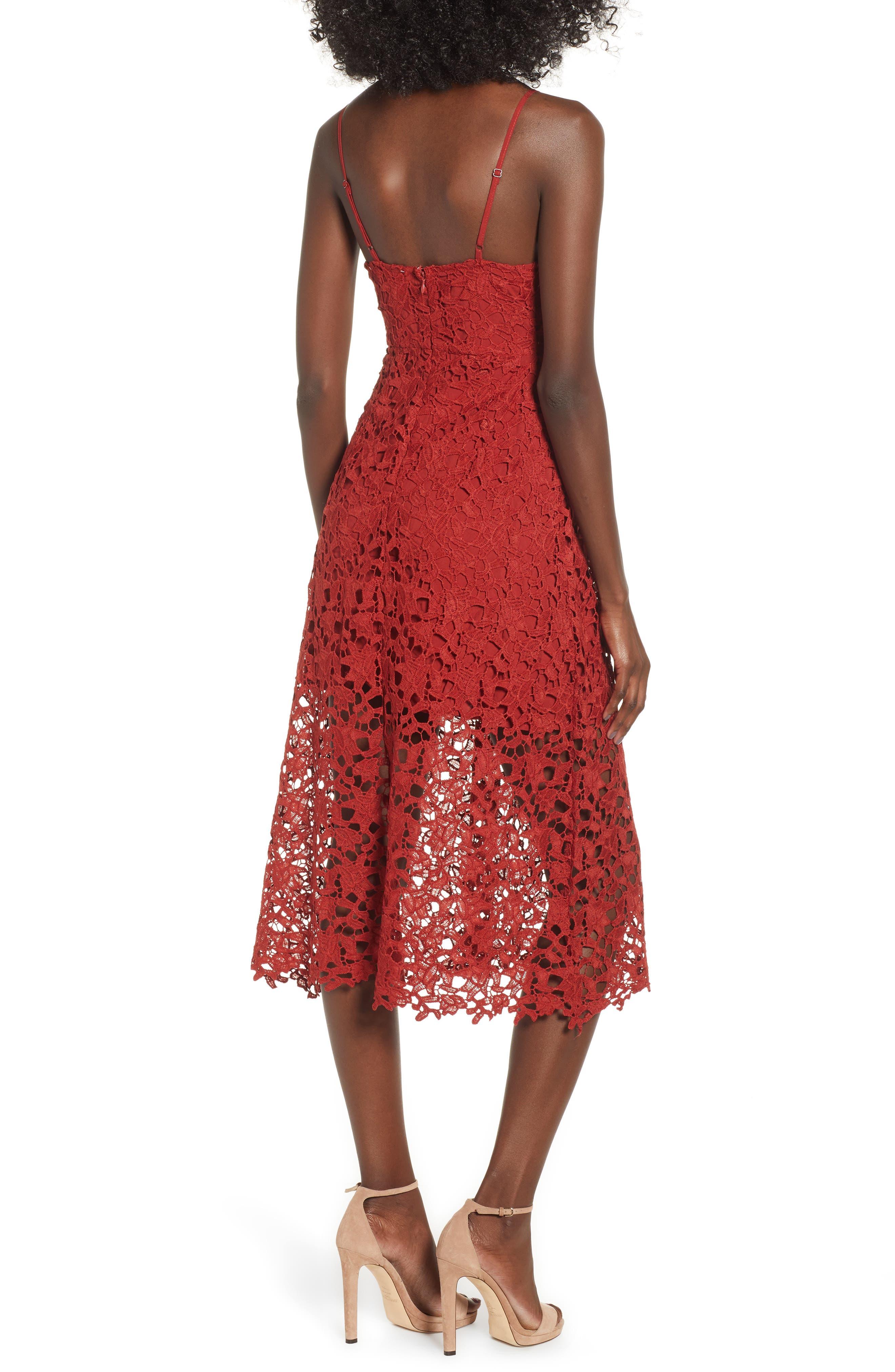 Lace Midi Dress,                             Alternate thumbnail 2, color,                             RUST