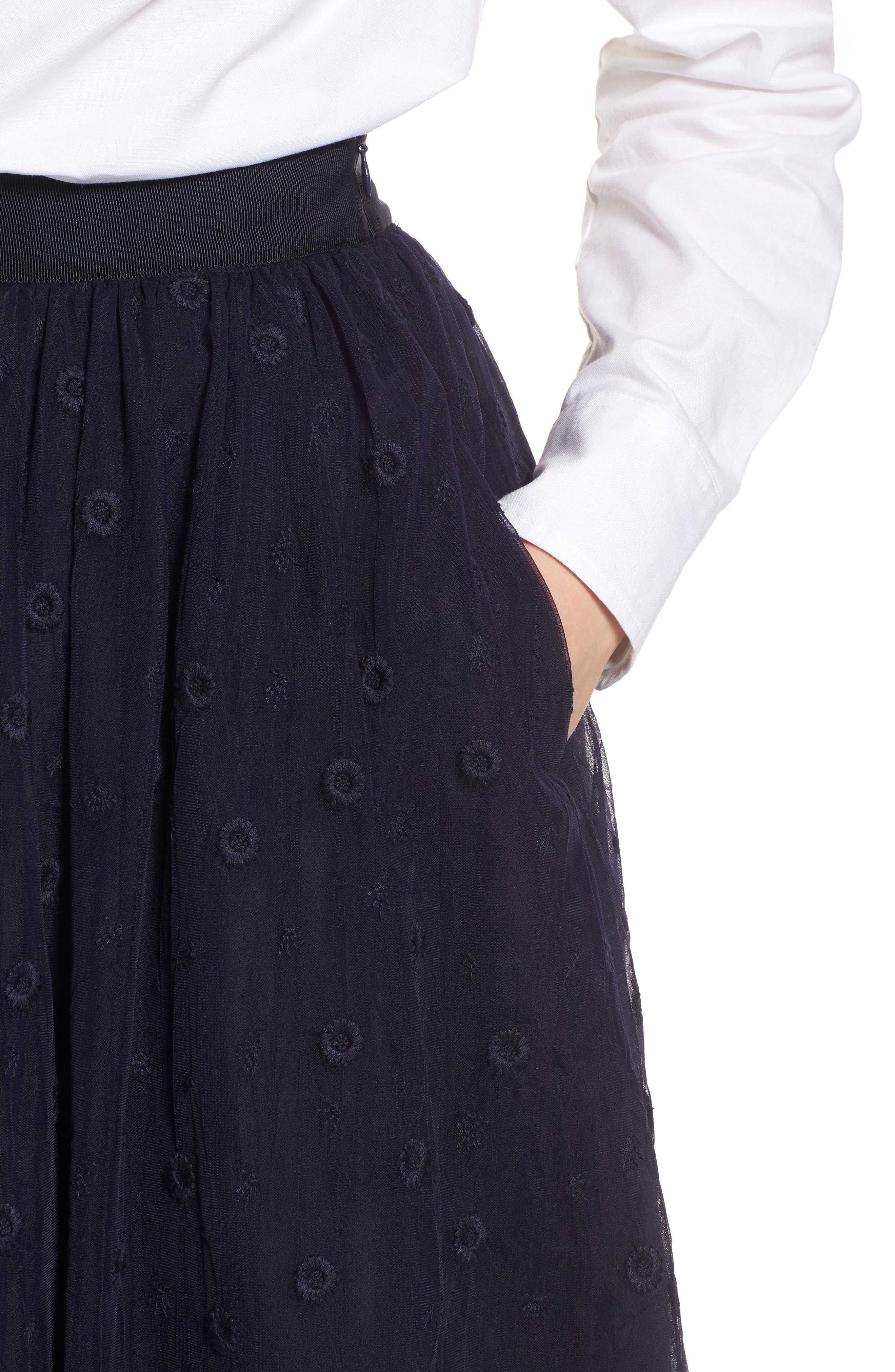 Embroidered Tulle Skirt,                             Alternate thumbnail 4, color,                             410