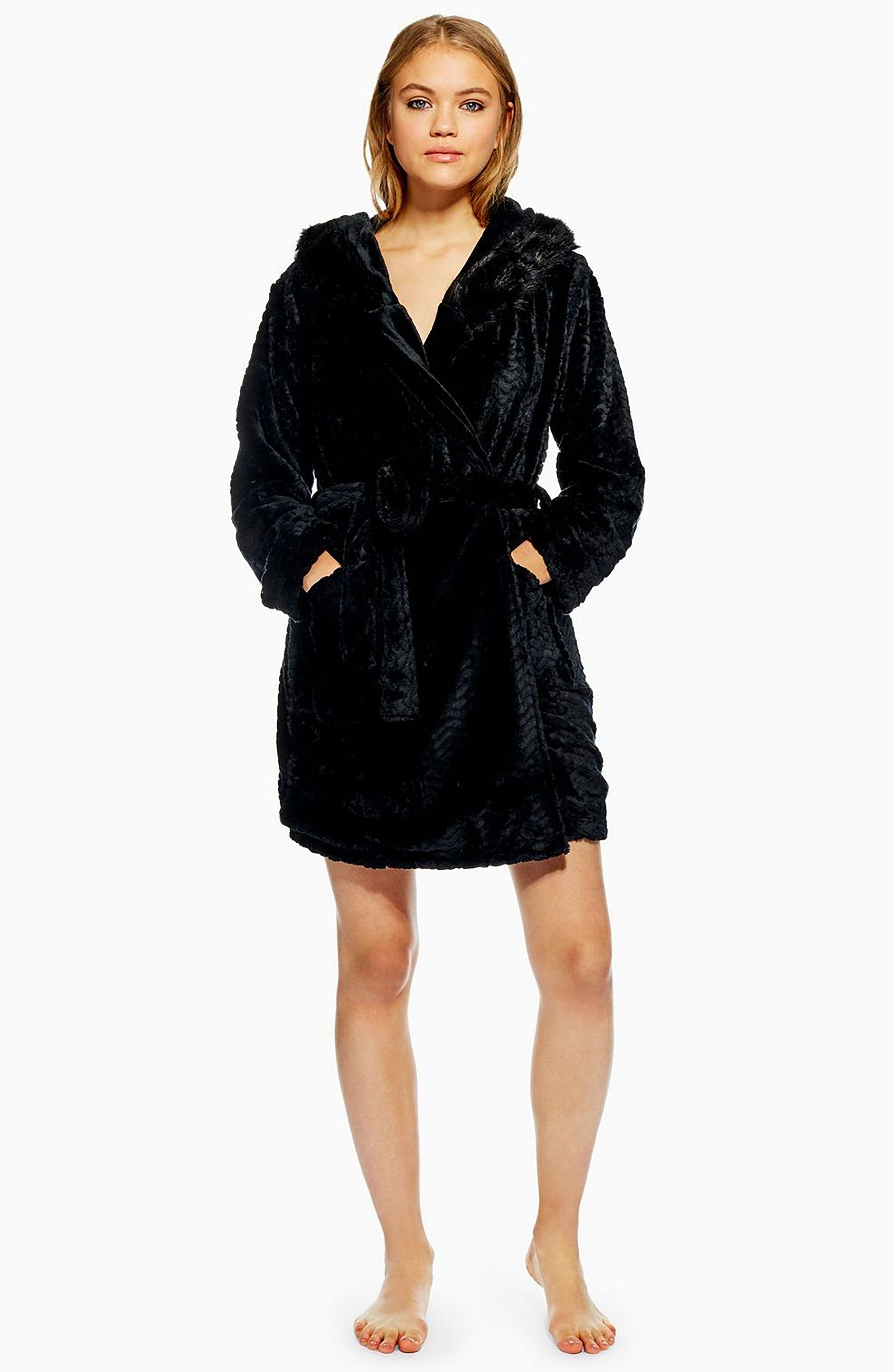 Kimmie Hooded Short Robe,                             Alternate thumbnail 4, color,                             BLACK