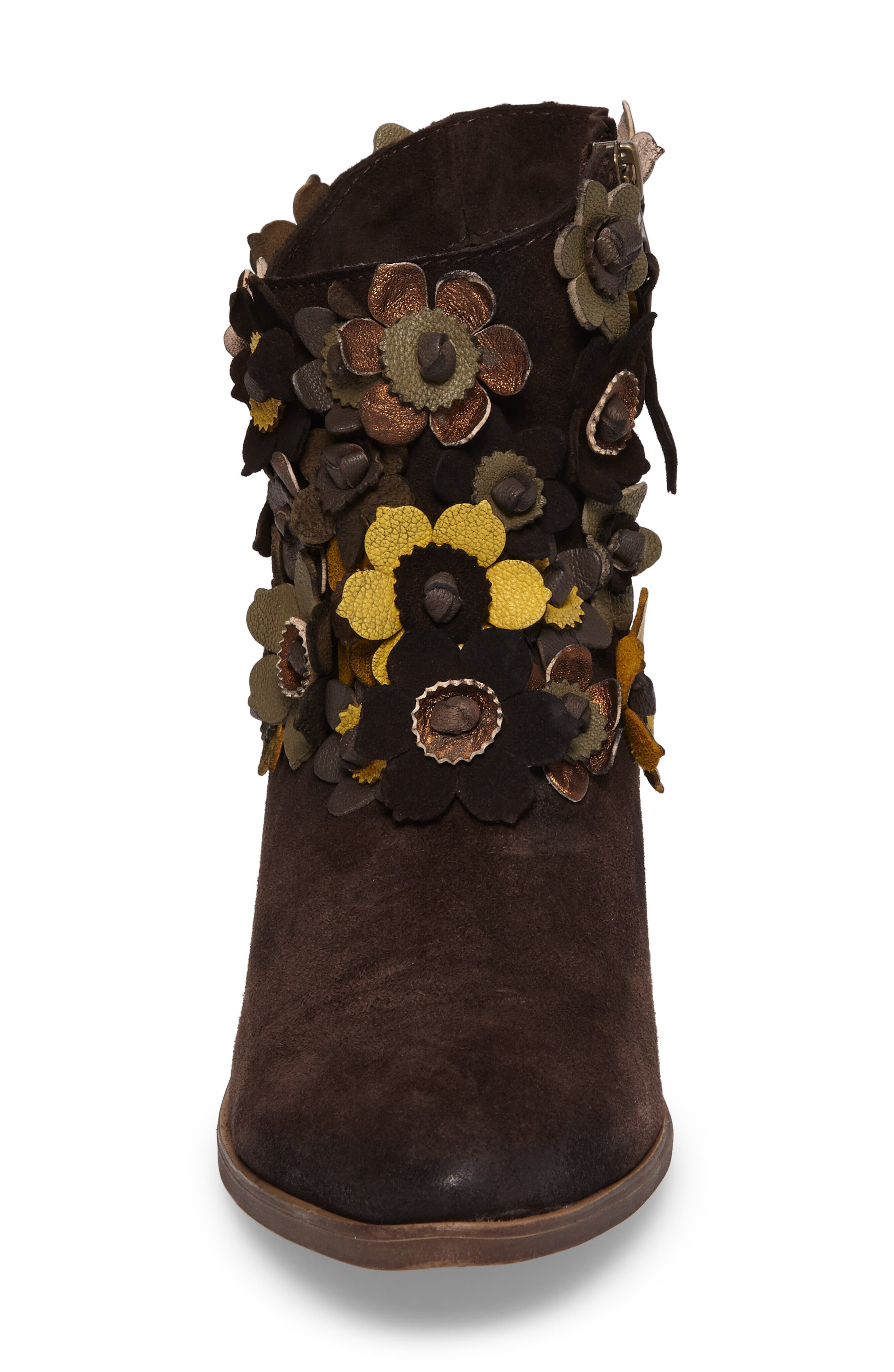 Sunflower Embellished Bootie,                             Alternate thumbnail 4, color,                             BROWN SUEDE