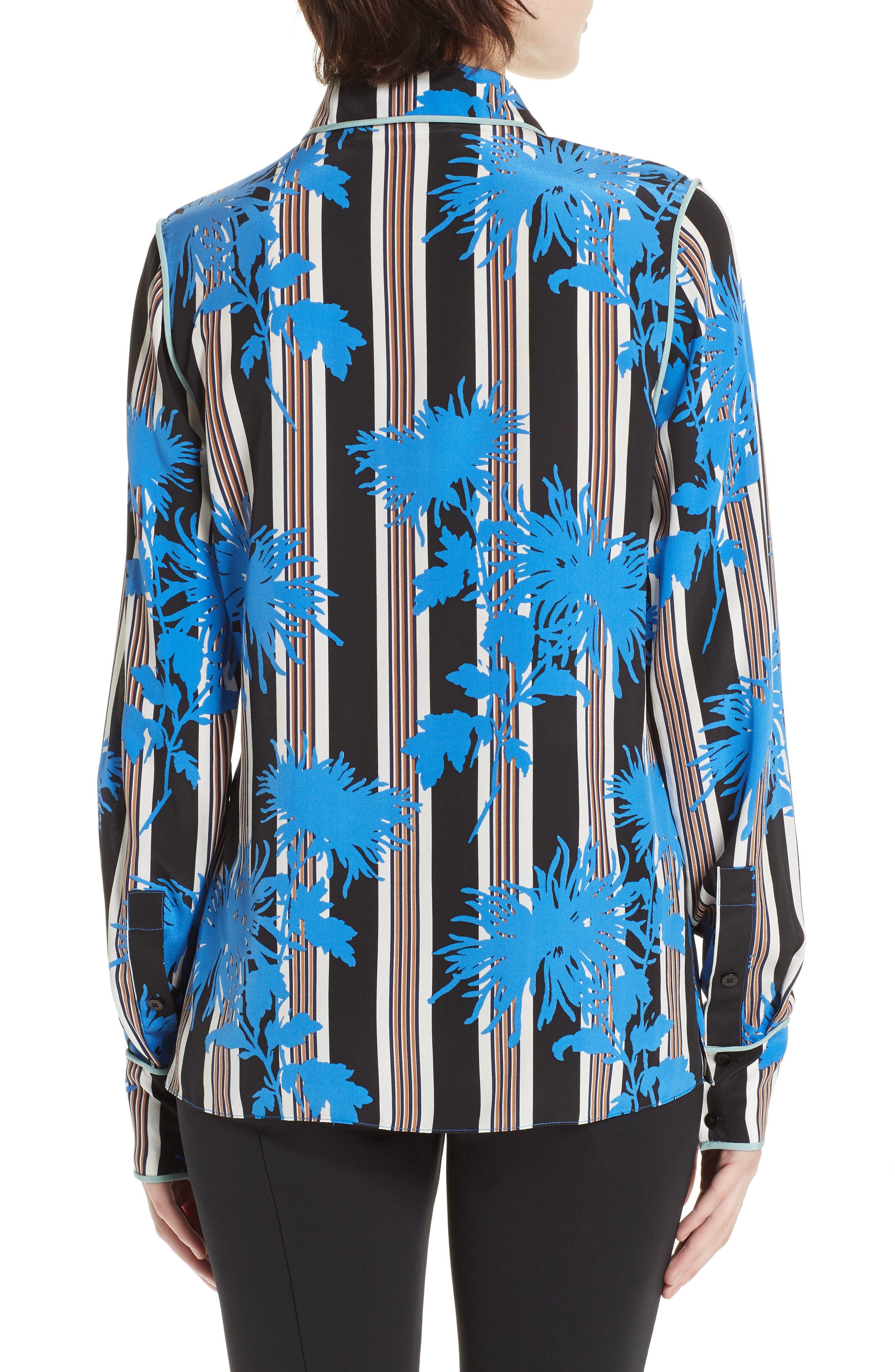 Diane von Furstenberg Floral Print Silk Shirt,                             Alternate thumbnail 2, color,                             SHELFORD B