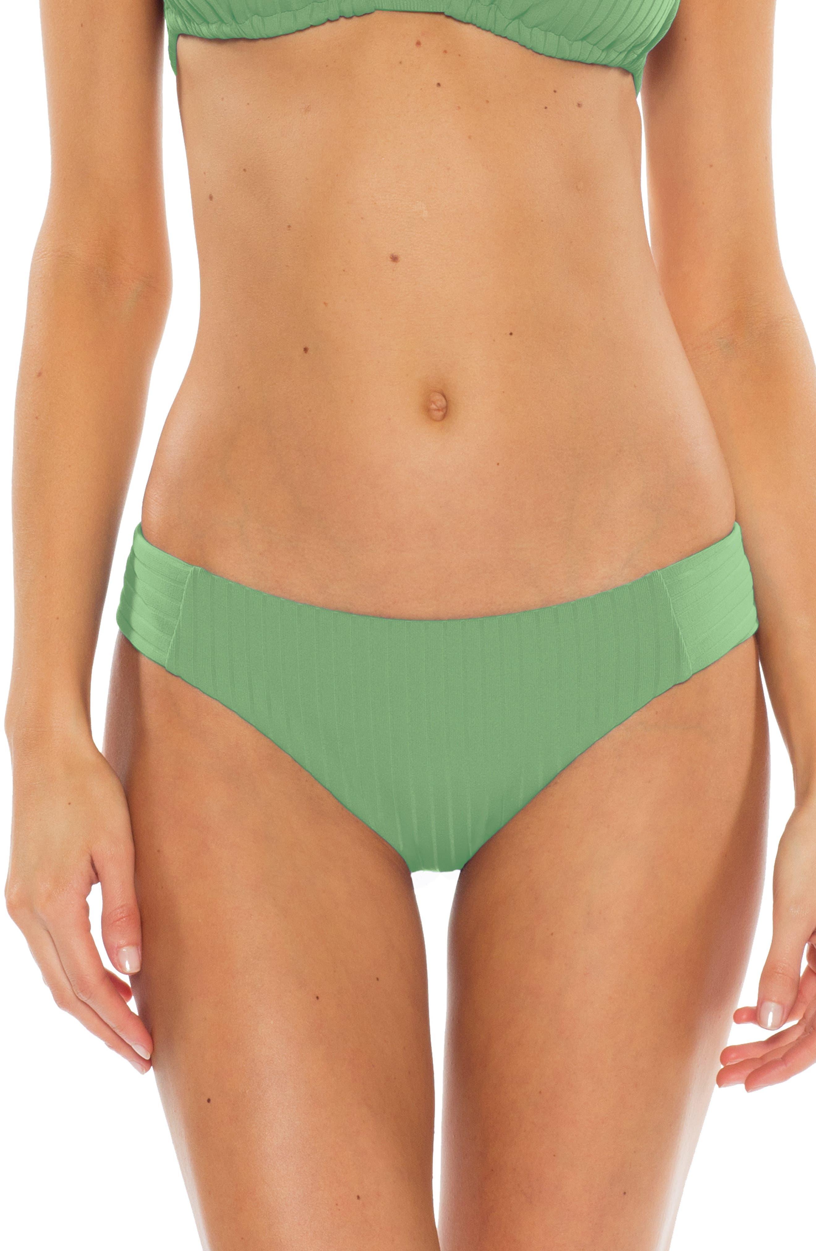 Becca Loreto Ribbed Bikini Bottoms, Green