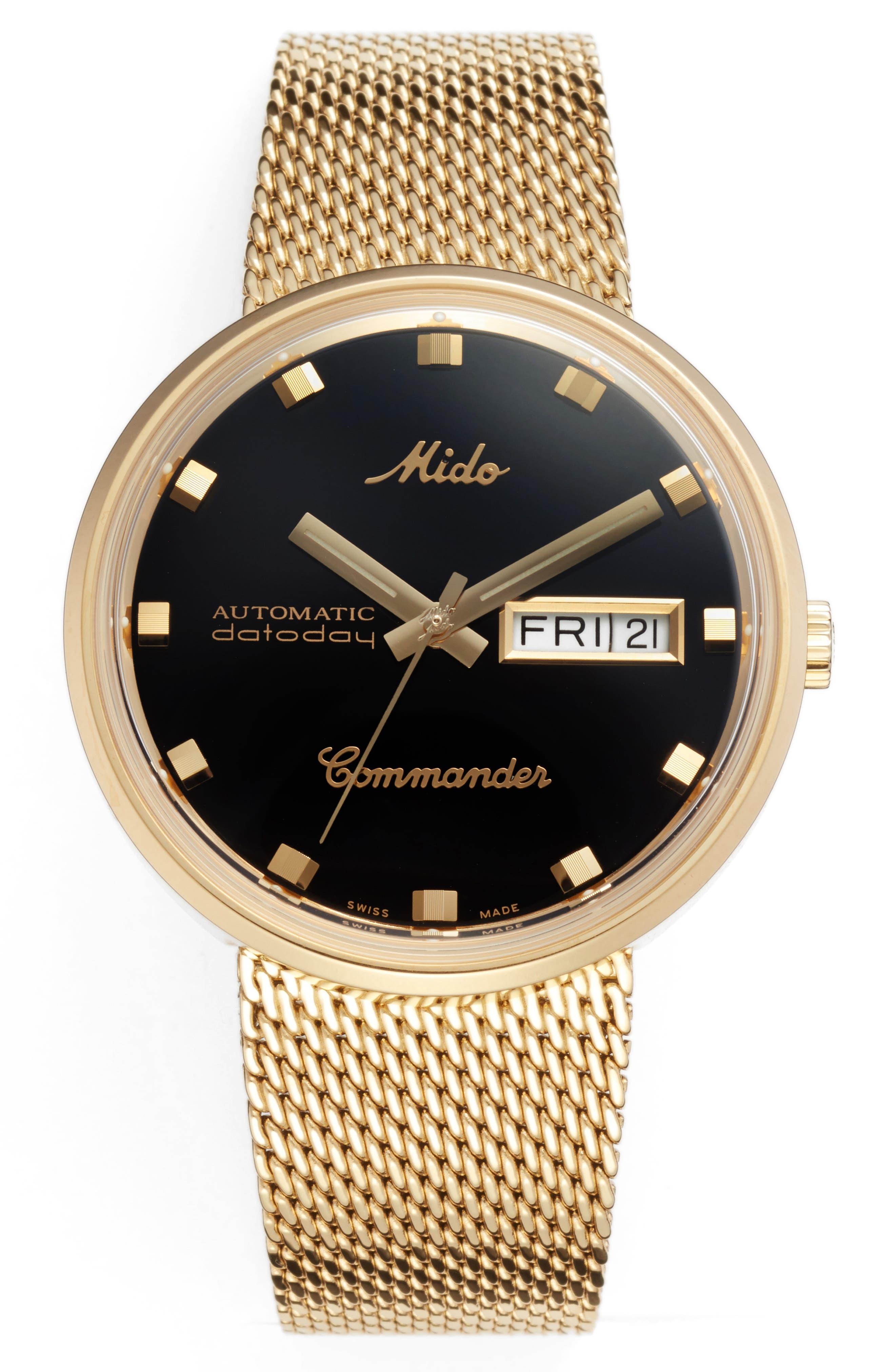 Commander Automatic Mesh Strap Watch, 37mm,                             Main thumbnail 1, color,                             GOLD/ BLACK/ GOLD
