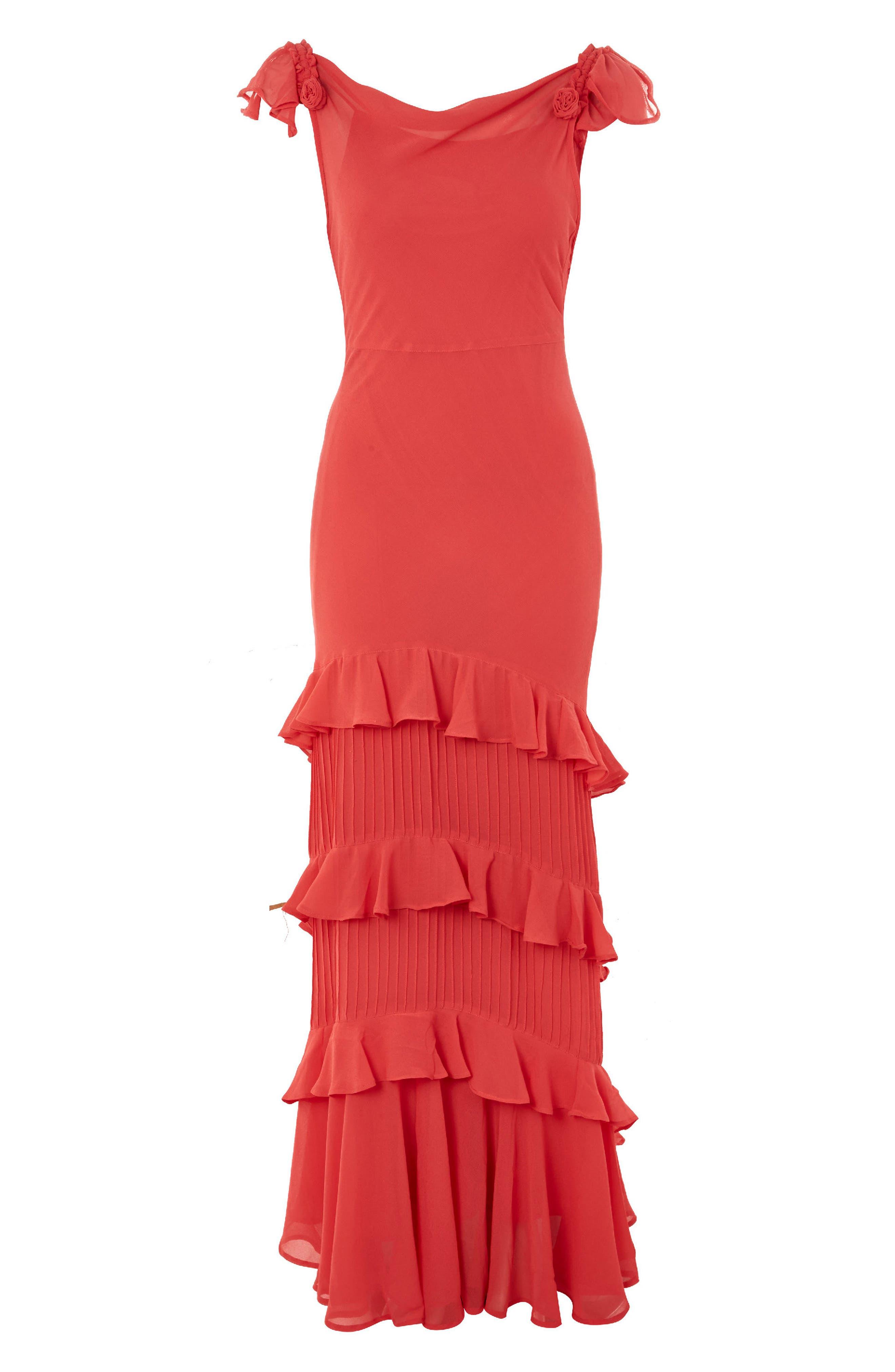 Ruffle Maxi Dress,                             Alternate thumbnail 7, color,                             600